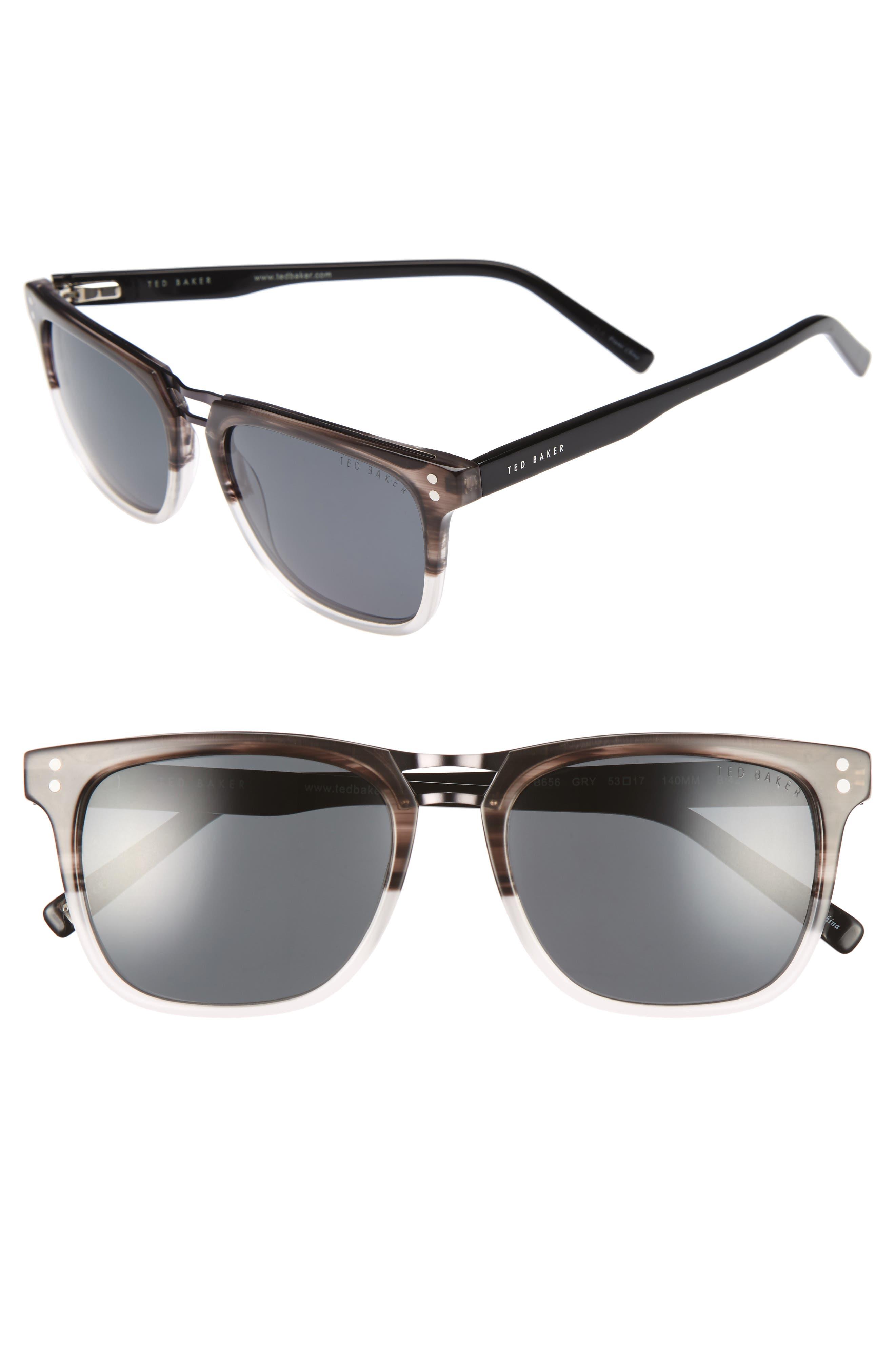 53mm Polarized Sunglasses,                         Main,                         color, Grey