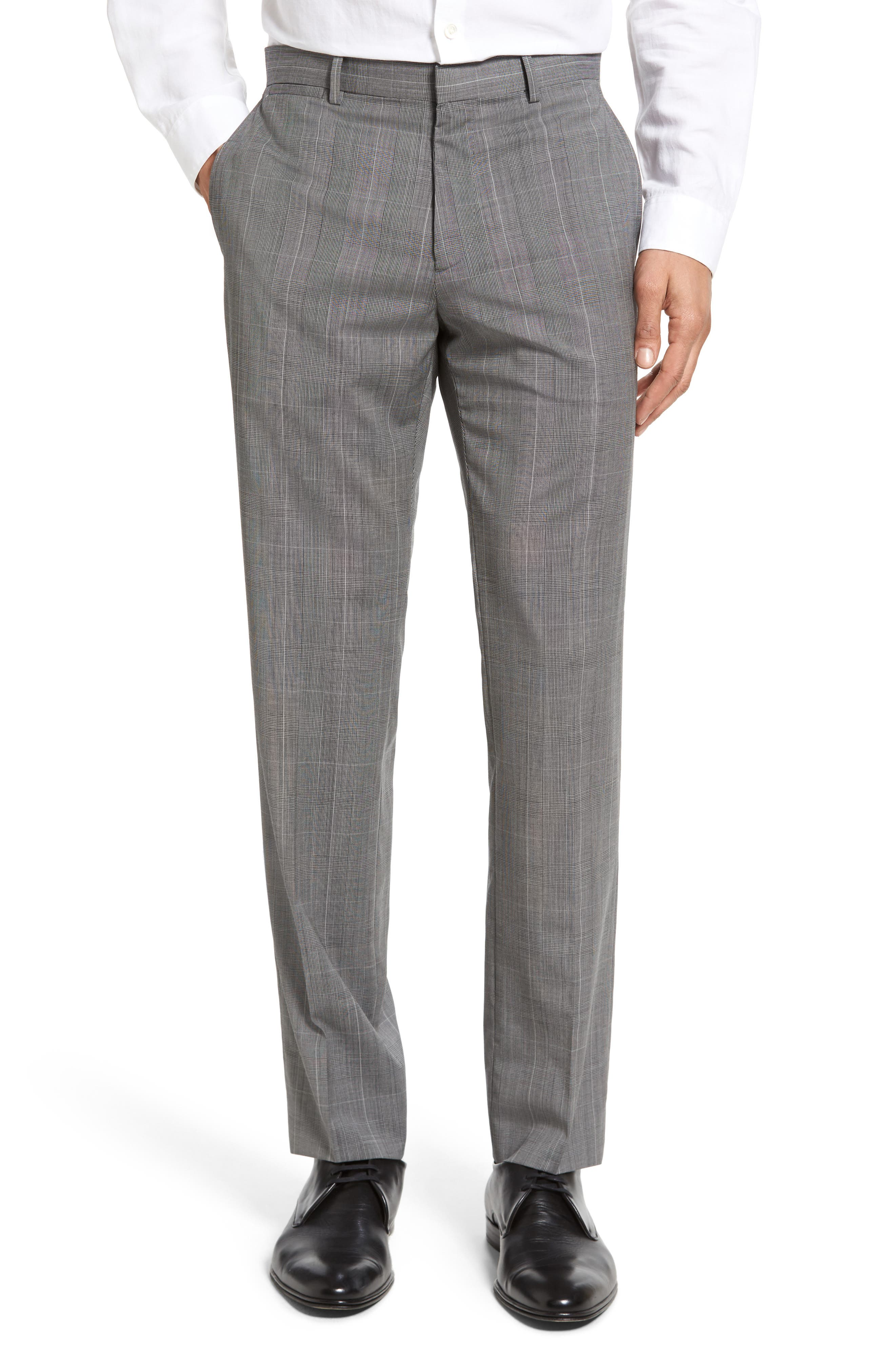 THEORY Marlo Kinver Flat Front Windowpane Wool Trousers
