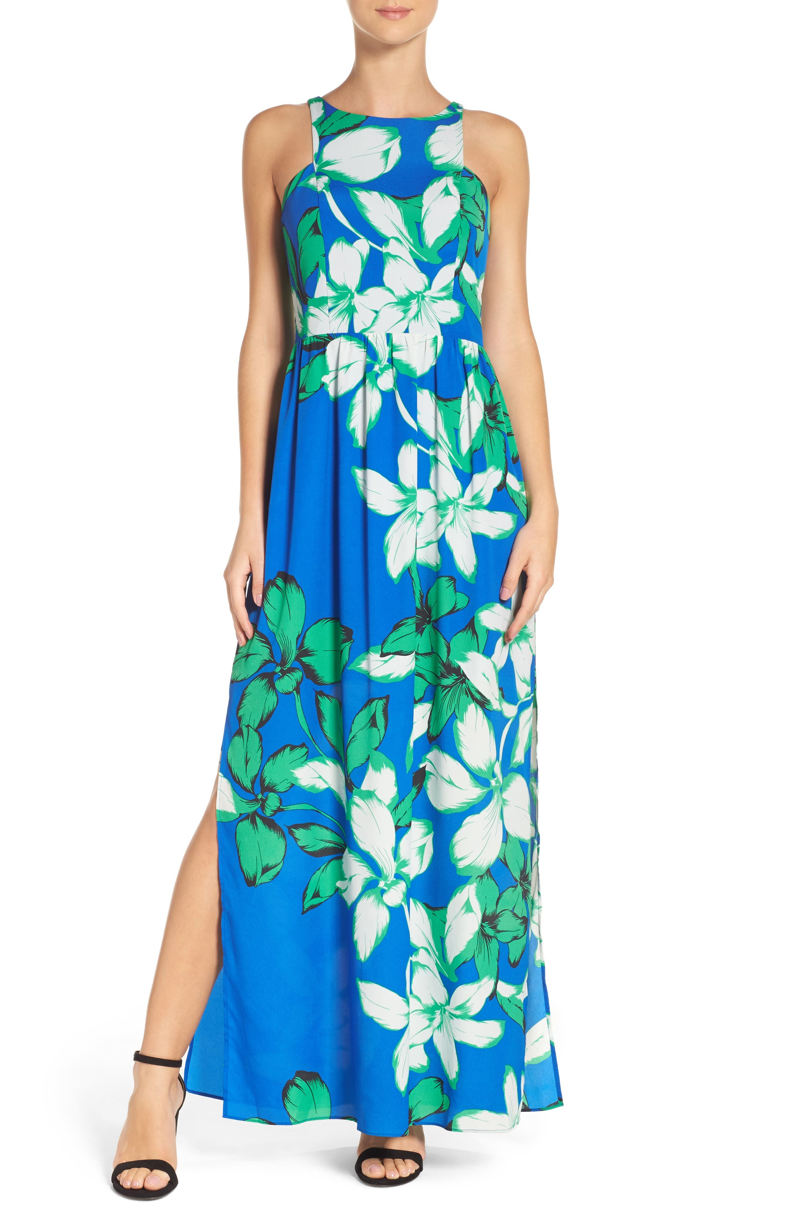 Cutaway Shoulder Maxi Dress,                         Main,                         color, Blue Tropical Floral