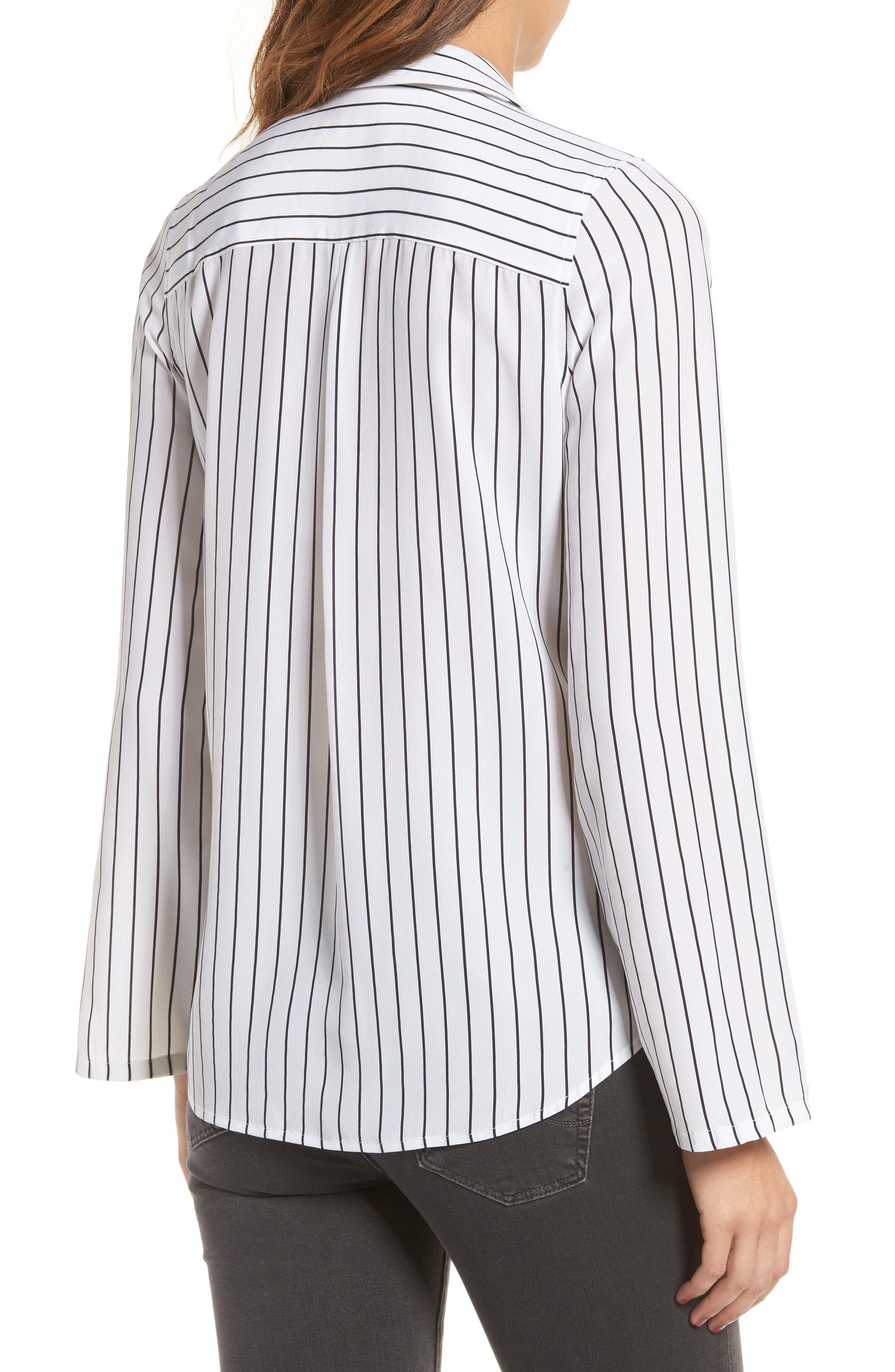 Avery Silk Shirt,                             Alternate thumbnail 2, color,                             True White / True Black Stripe