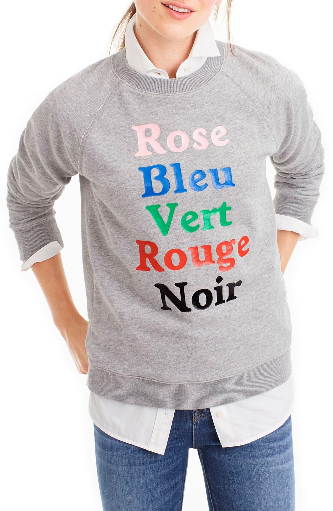 French Colors Sweatshirt,                             Main thumbnail 1, color,                             Heather Grey