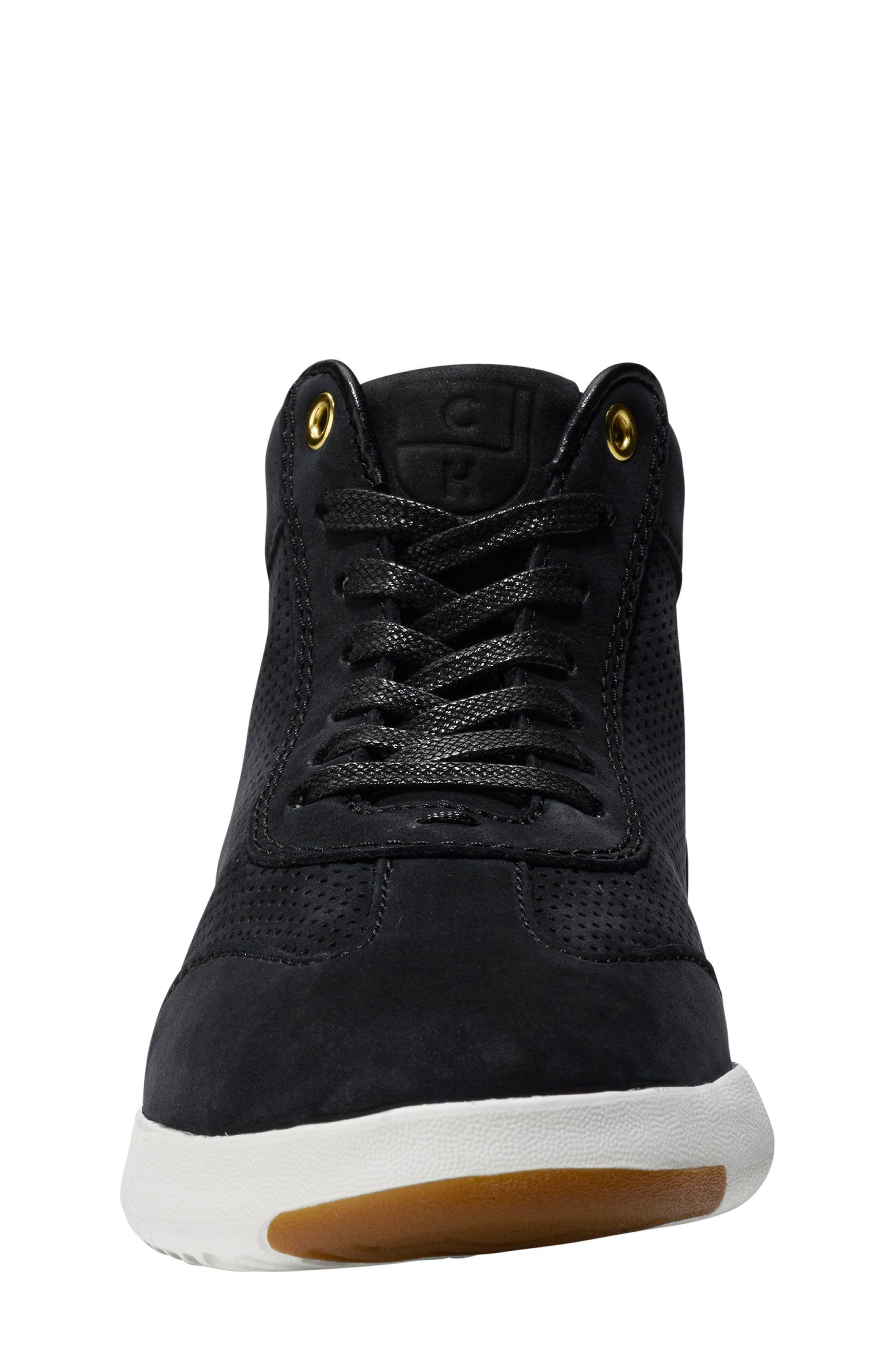 GrandPro High Top Sneaker,                             Alternate thumbnail 3, color,                             Black Nubuck Leather