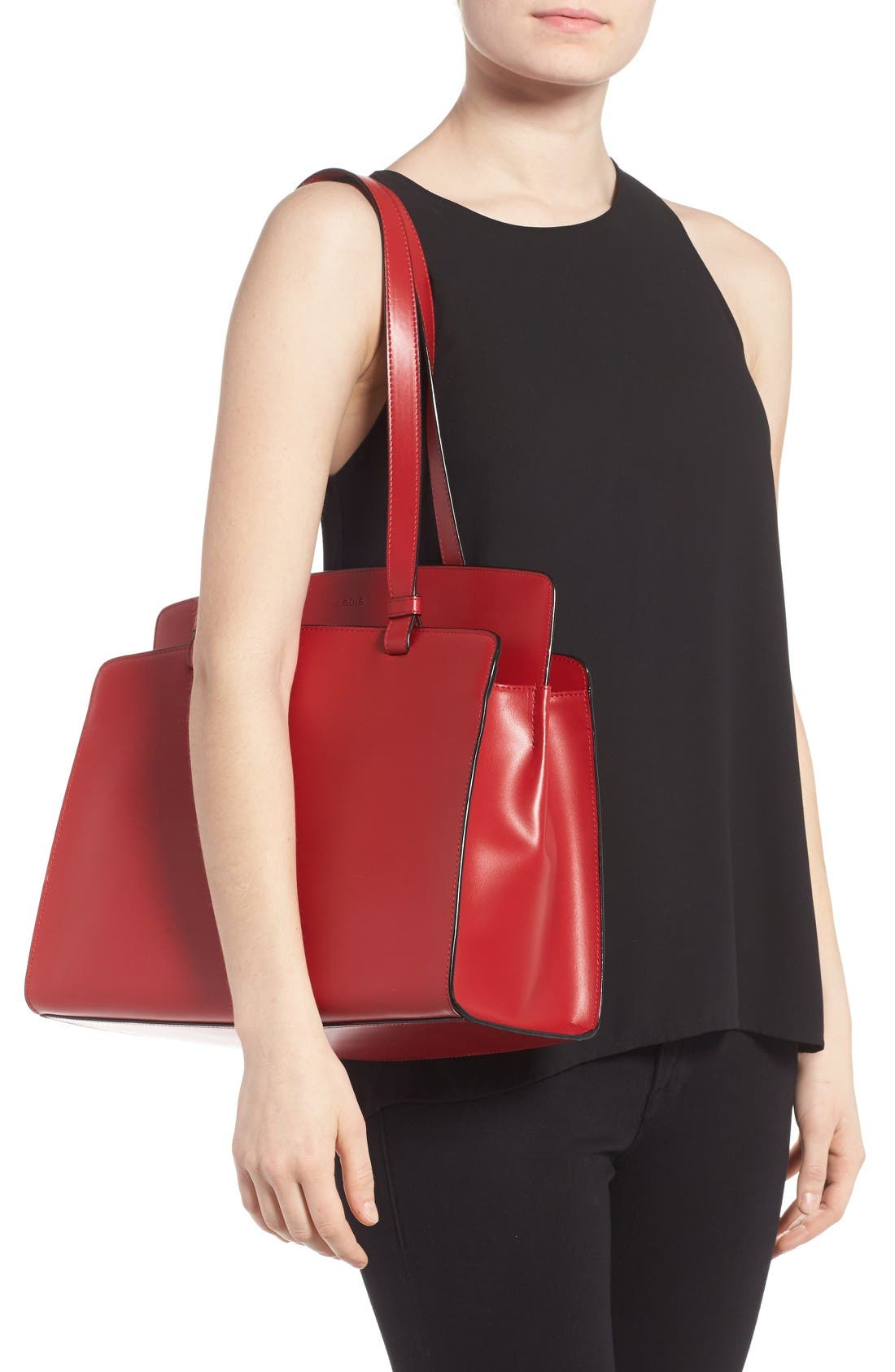 Lodis Audrey Collection - Jana Leather Tote,                             Alternate thumbnail 2, color,                             Red