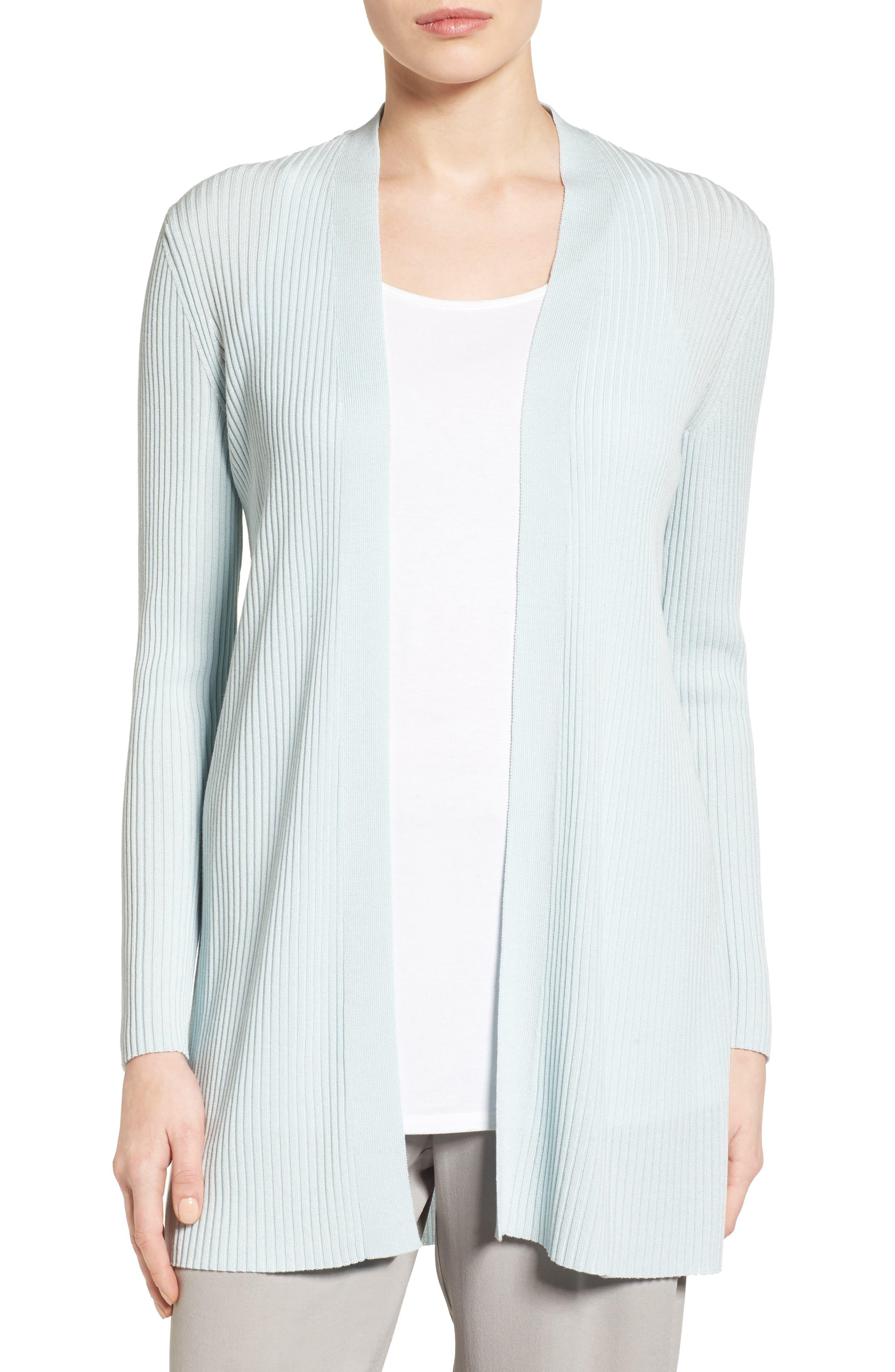Alternate Image 1 Selected - Eileen Fisher Rib Knit Cardigan (Regular & Petite)