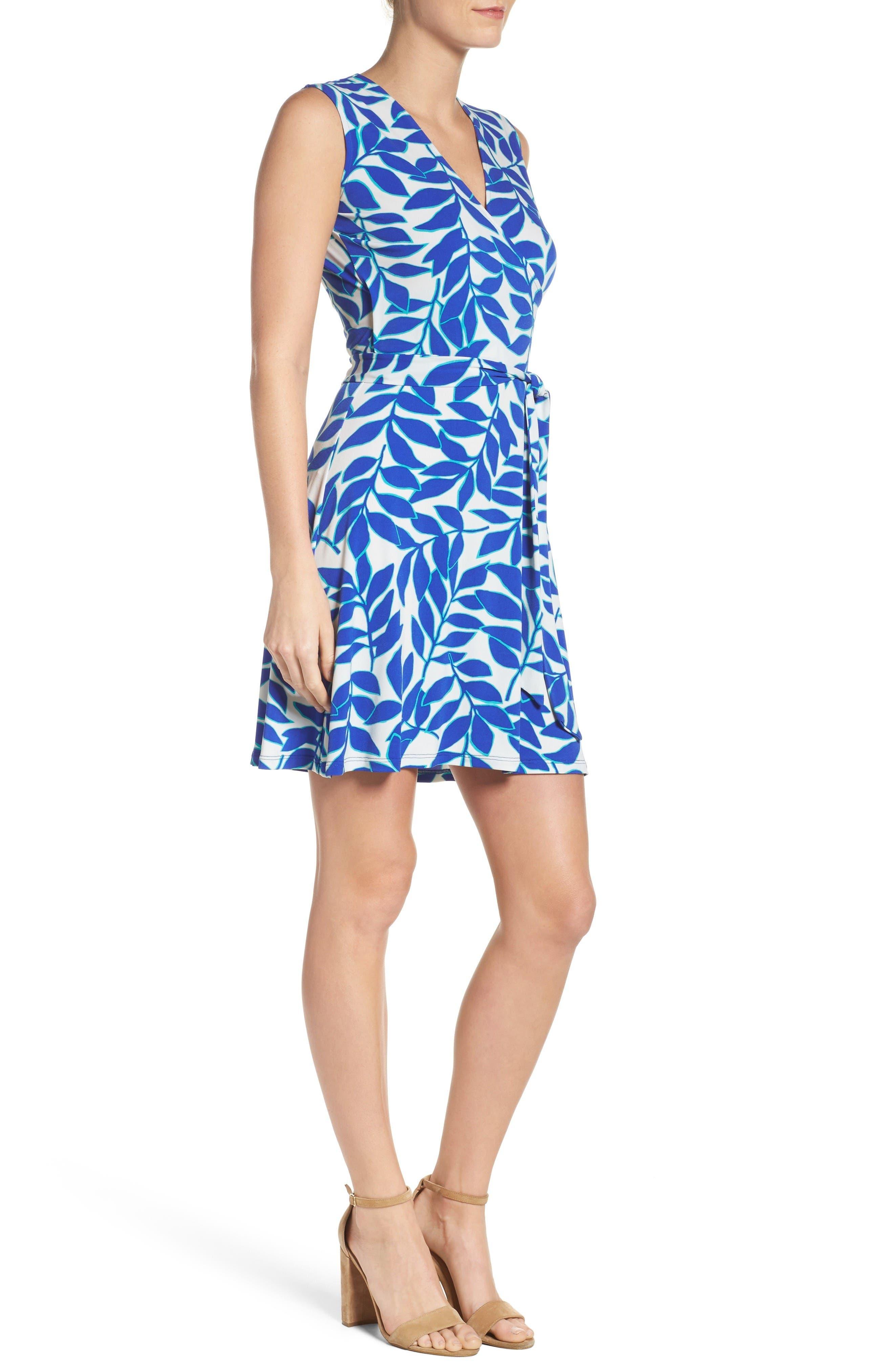 Perfect Faux Wrap Dress,                             Alternate thumbnail 3, color,                             Blue Ivy