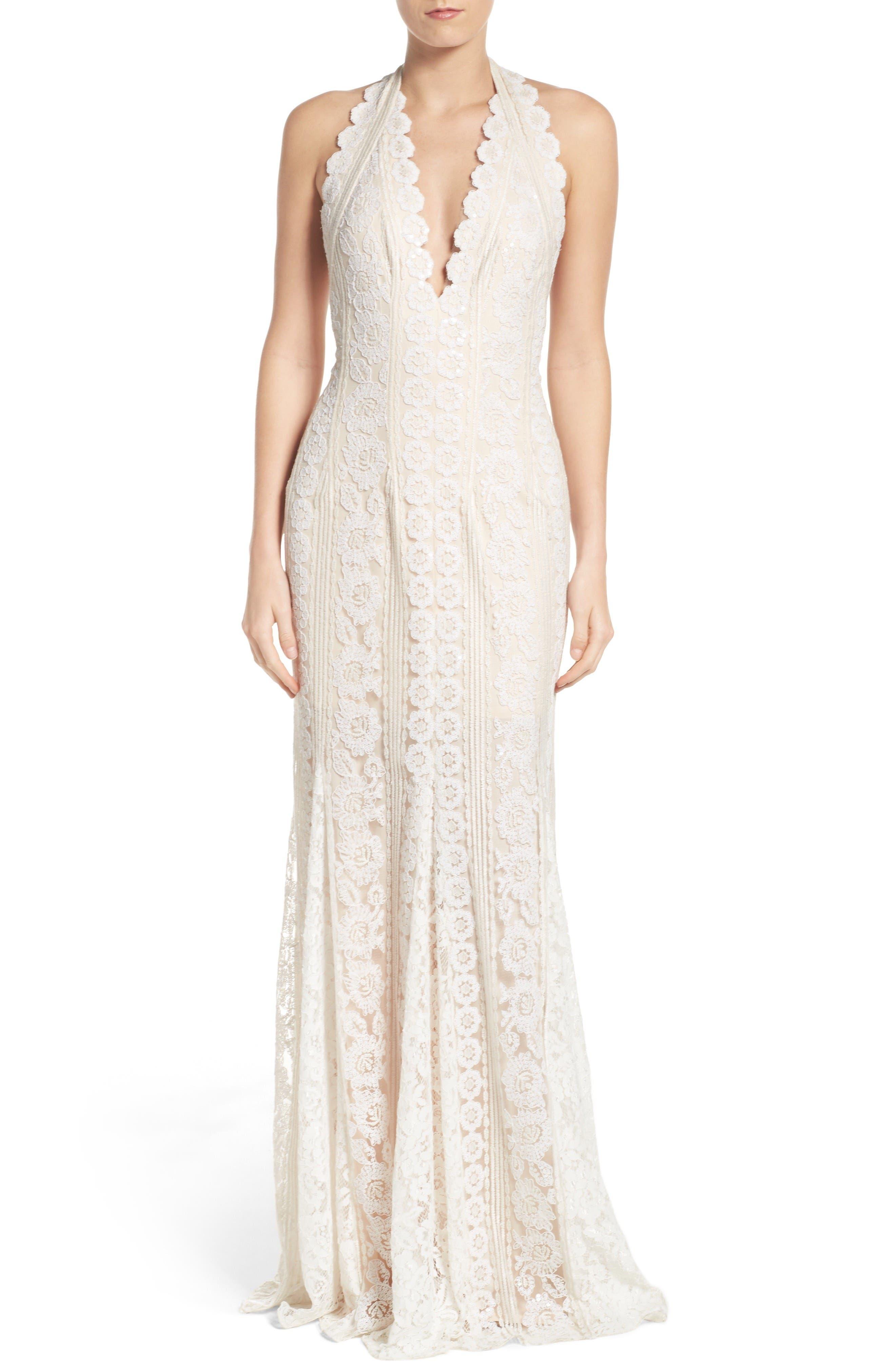 TADASHI SHOJI Deep V Lace Gown