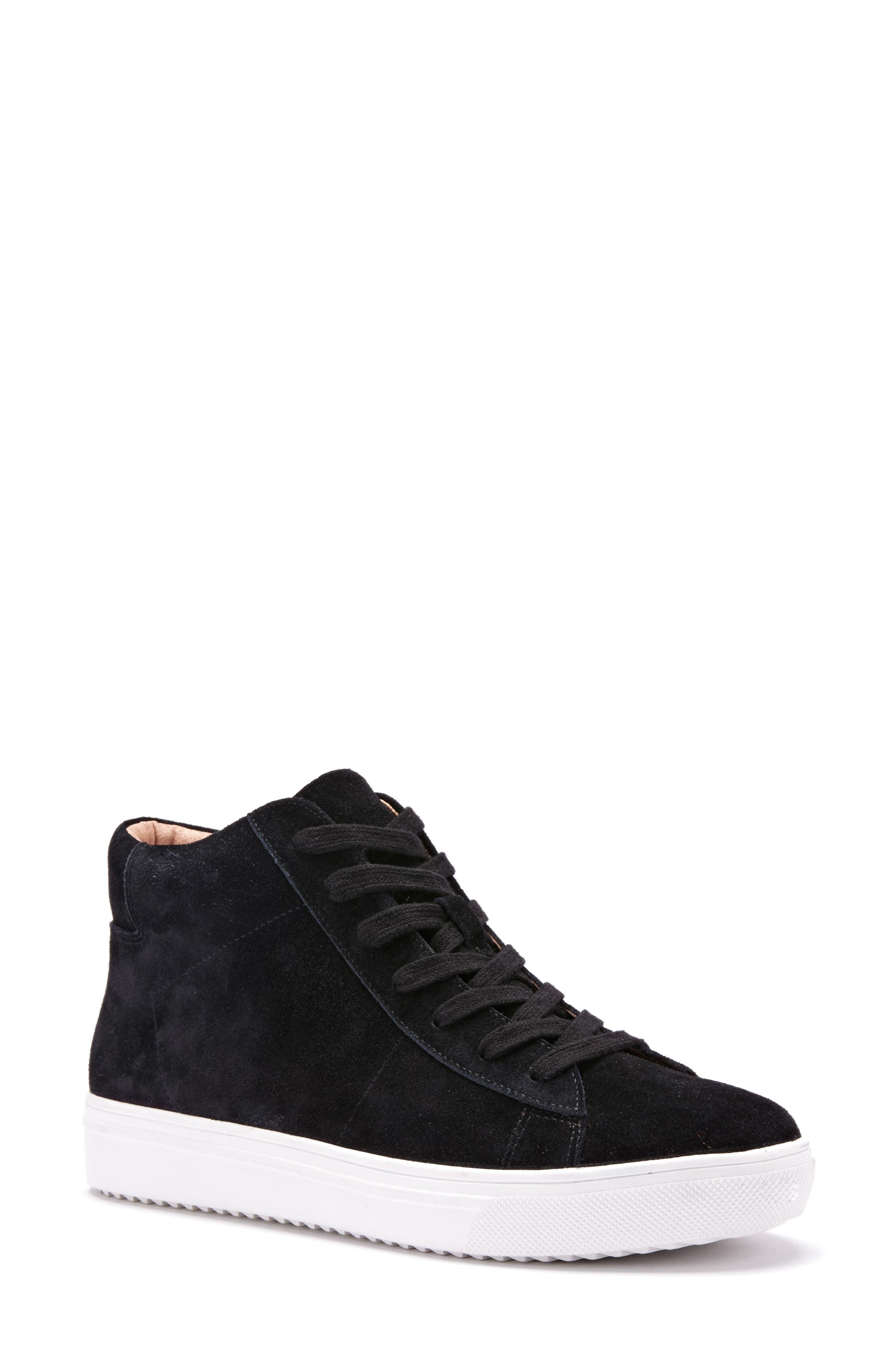 Jax Waterproof High Top Sneaker,                             Main thumbnail 1, color,                             Black Suede