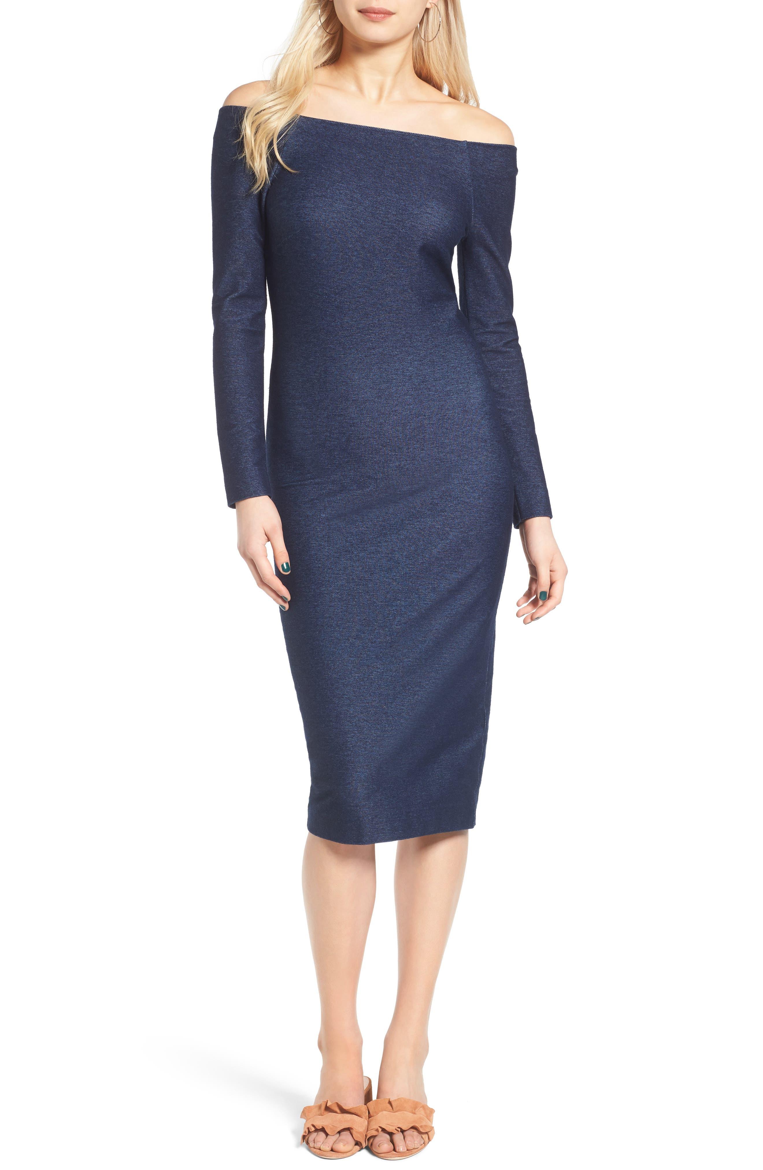 ST. studio Denim Off the Shoulder Body-Con Dress