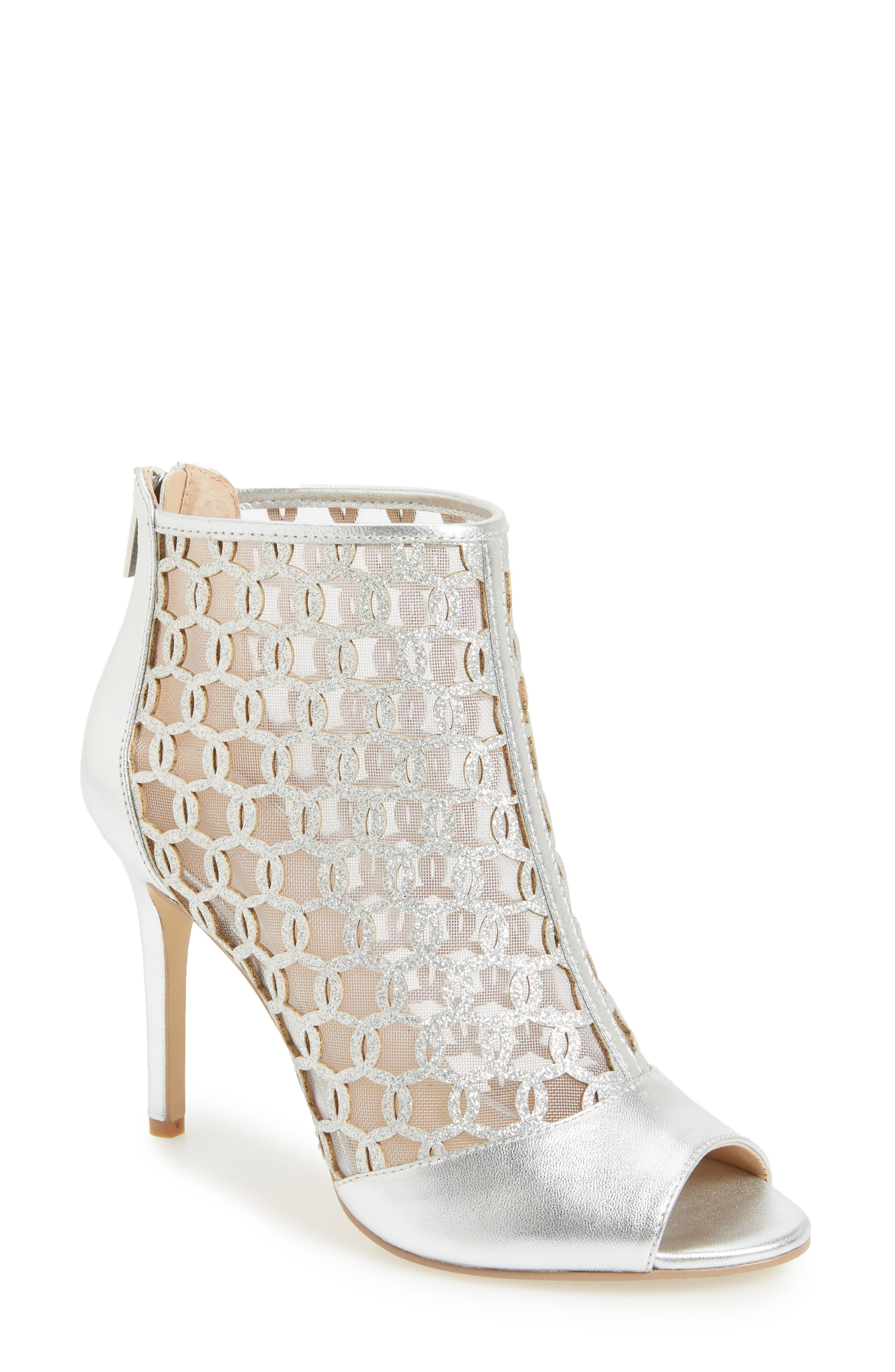 Holt II Glittery Cage Sandal,                         Main,                         color, Silver Satin