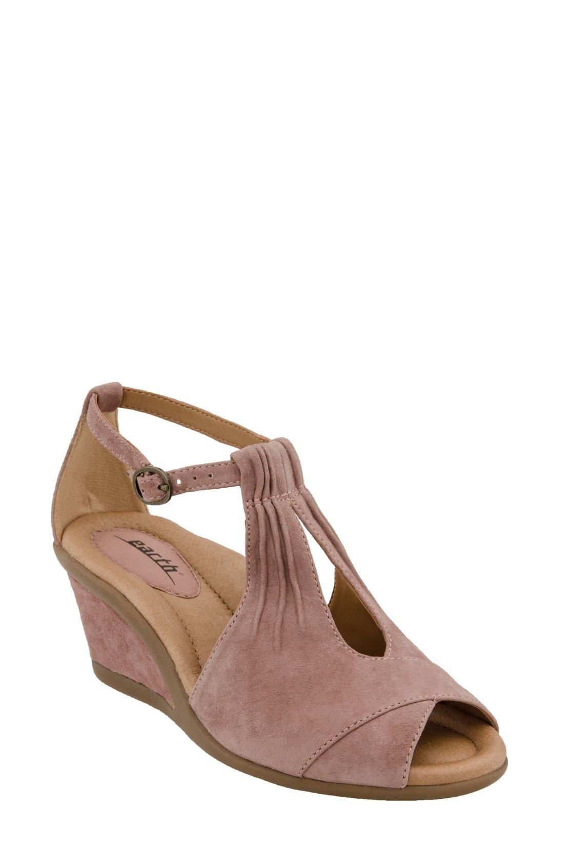 Earth® 'Caper' T-Strap Wedge Sandal (Women)