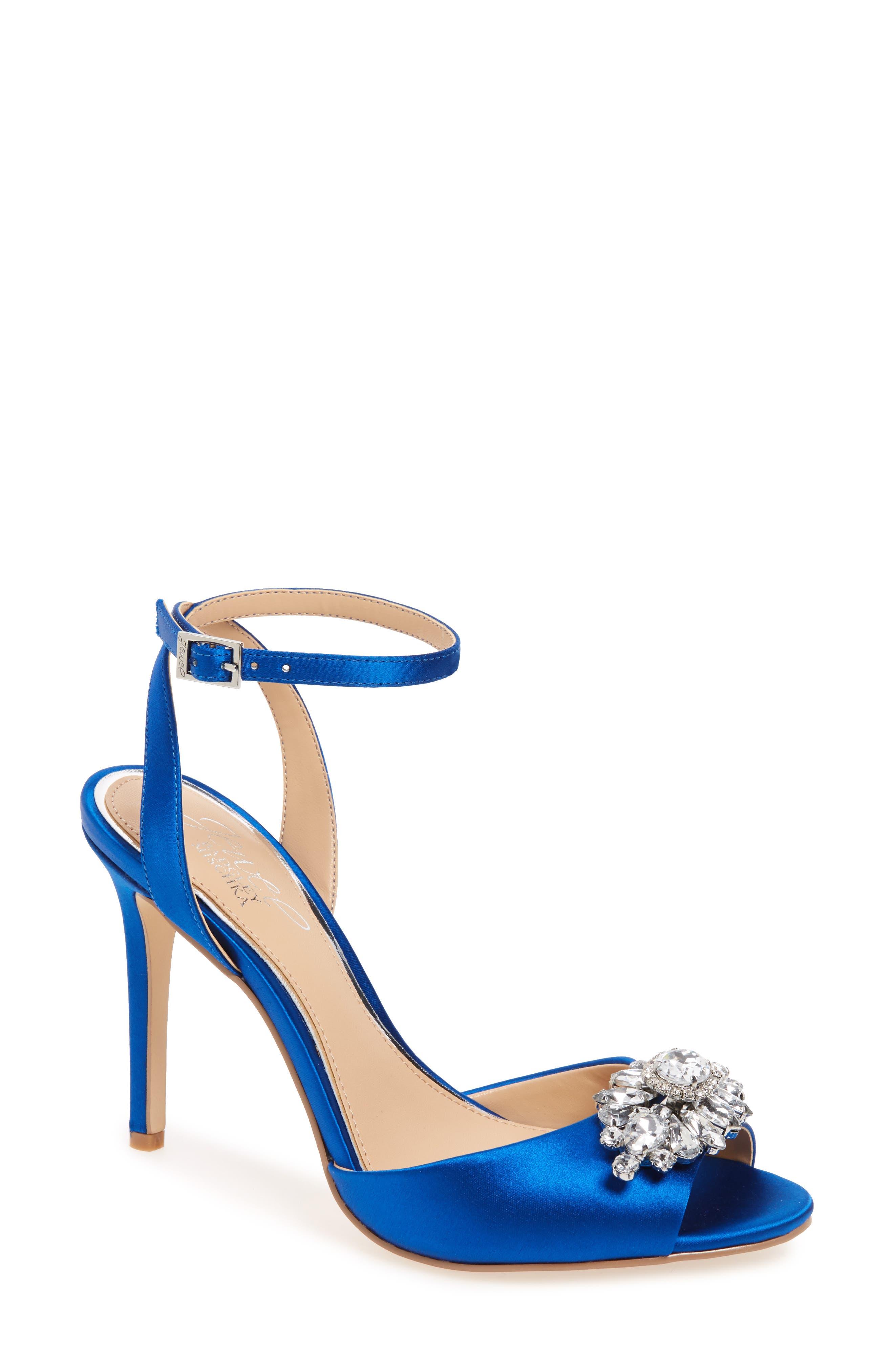 Hayden Embellished Ankle Strap Sandal,                             Main thumbnail 1, color,                             Blue Satin