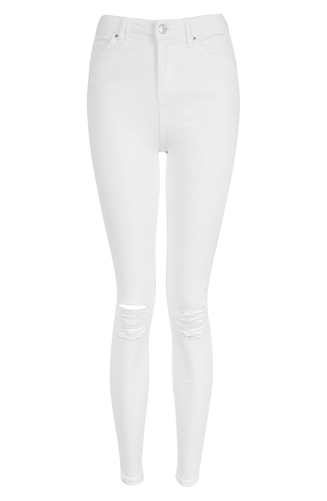 Jamie Ripped Skinny Jeans,                             Alternate thumbnail 5, color,                             White