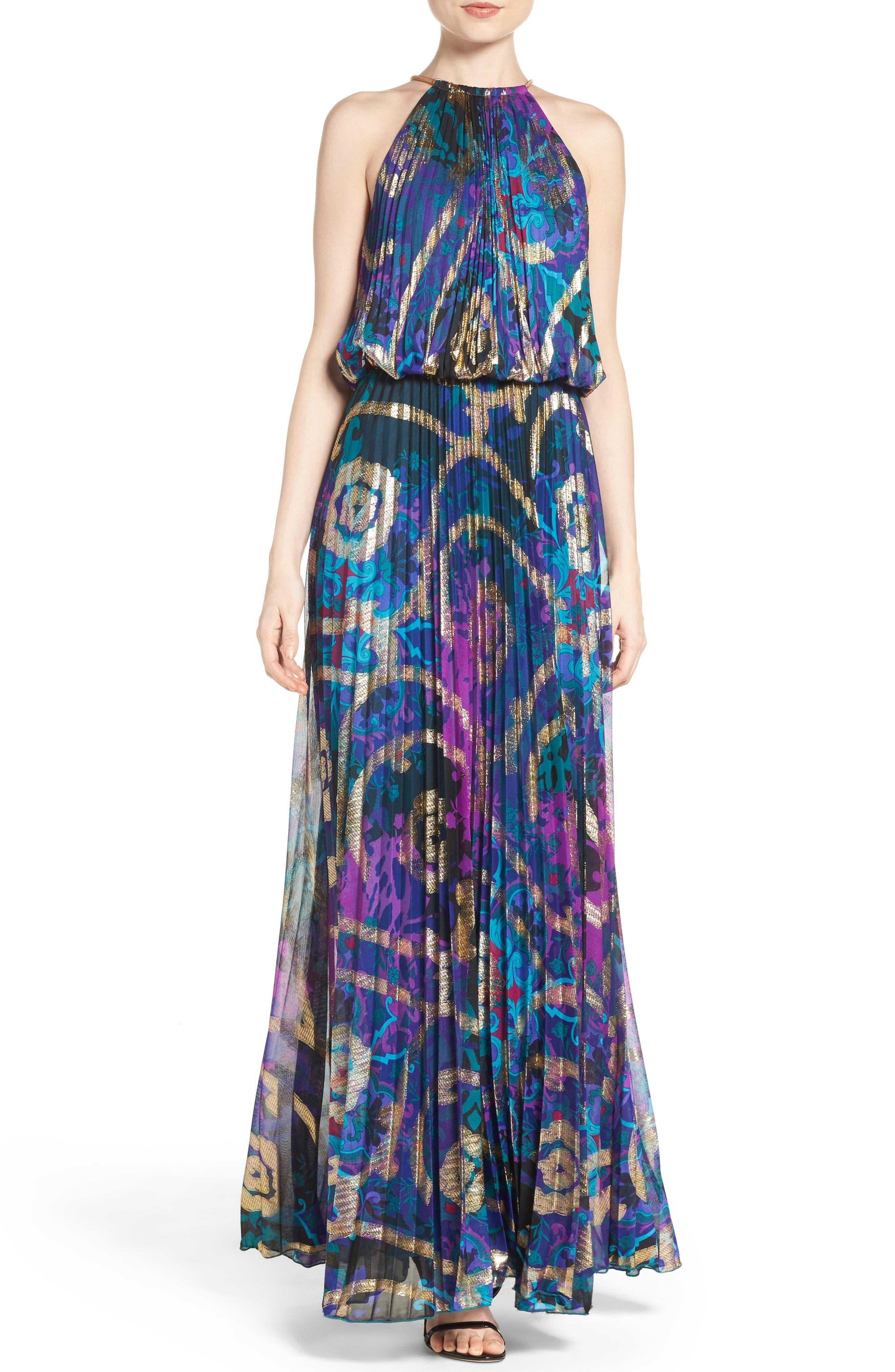 Main Image - Xscape Pleated Blouson Gown