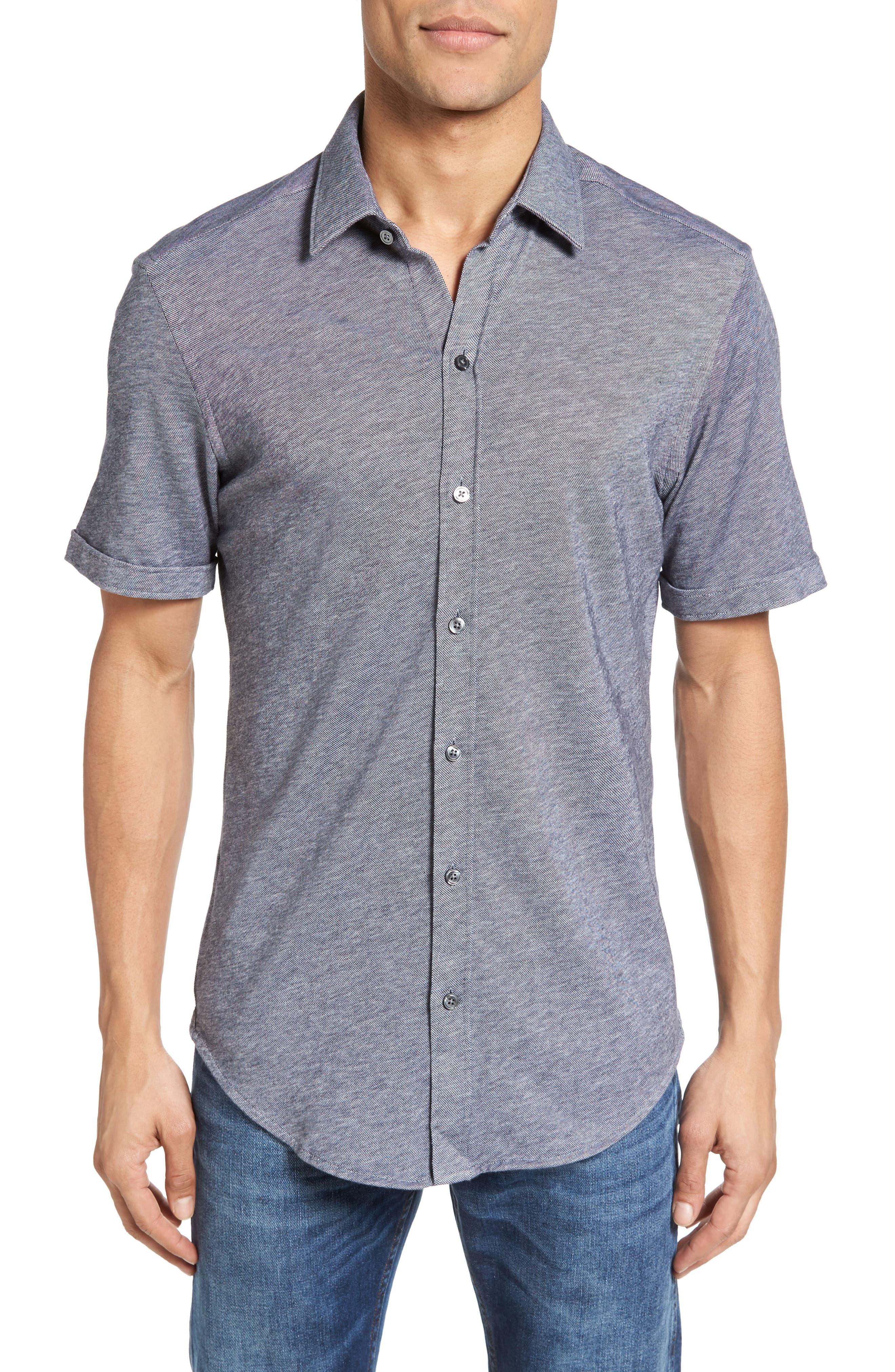 Robb Sharp Fit Jersey Sport Shirt,                         Main,                         color, Navy