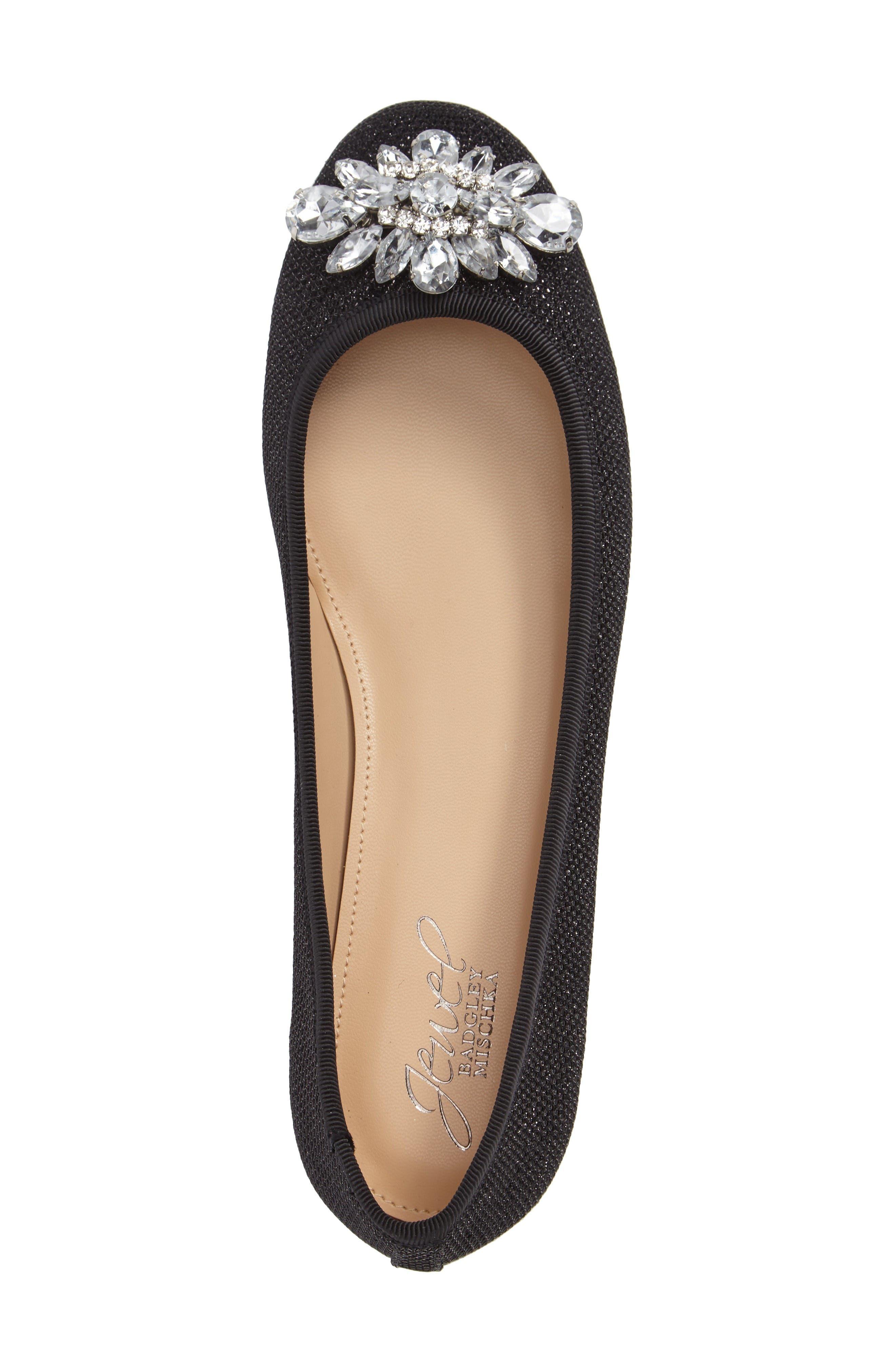 Cabella Embellished Ballet Flat,                             Alternate thumbnail 3, color,                             Black Fabric