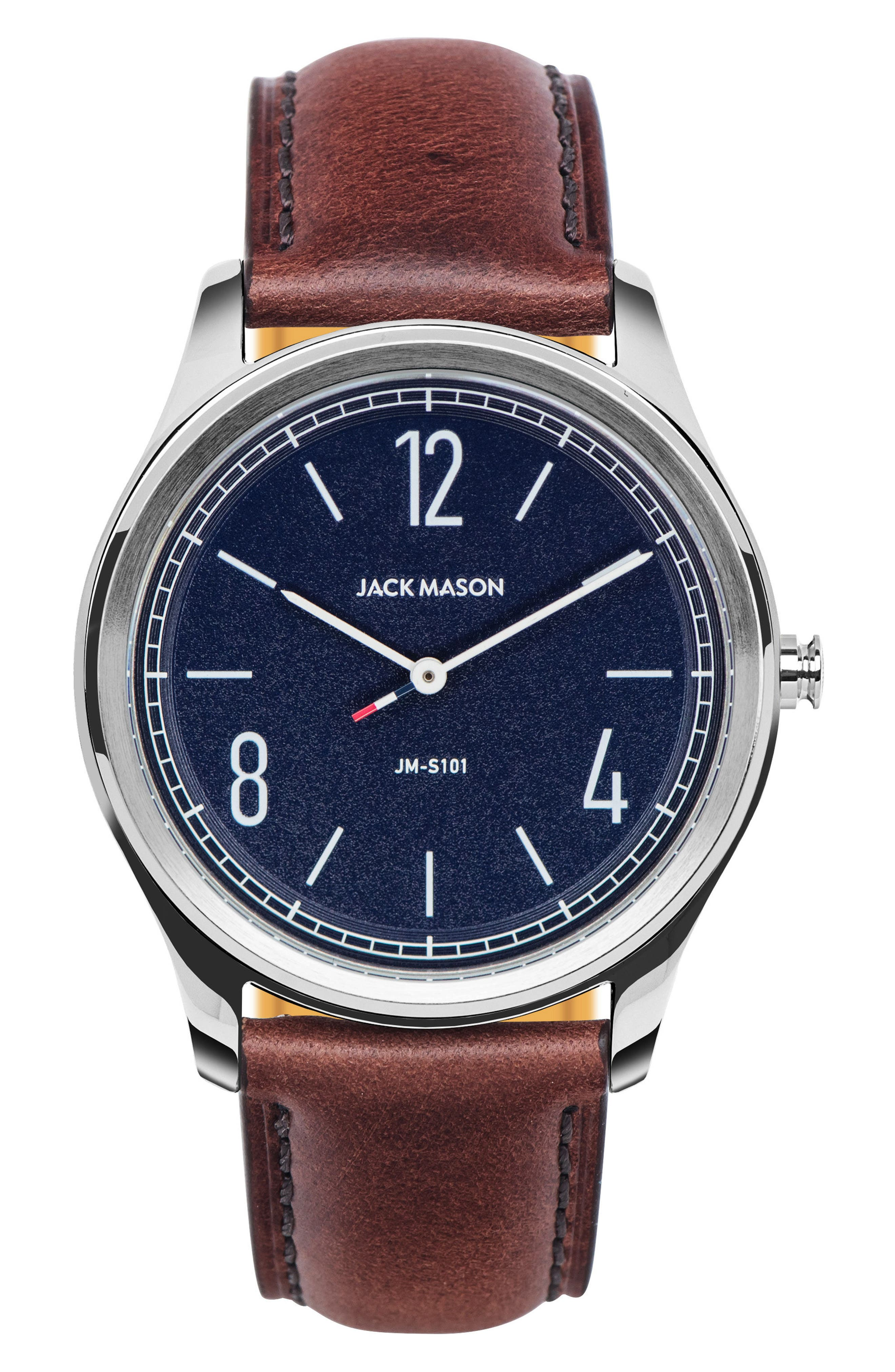 Slim Leather Strap Watch, 42mm,                         Main,                         color, Navy/ Brown