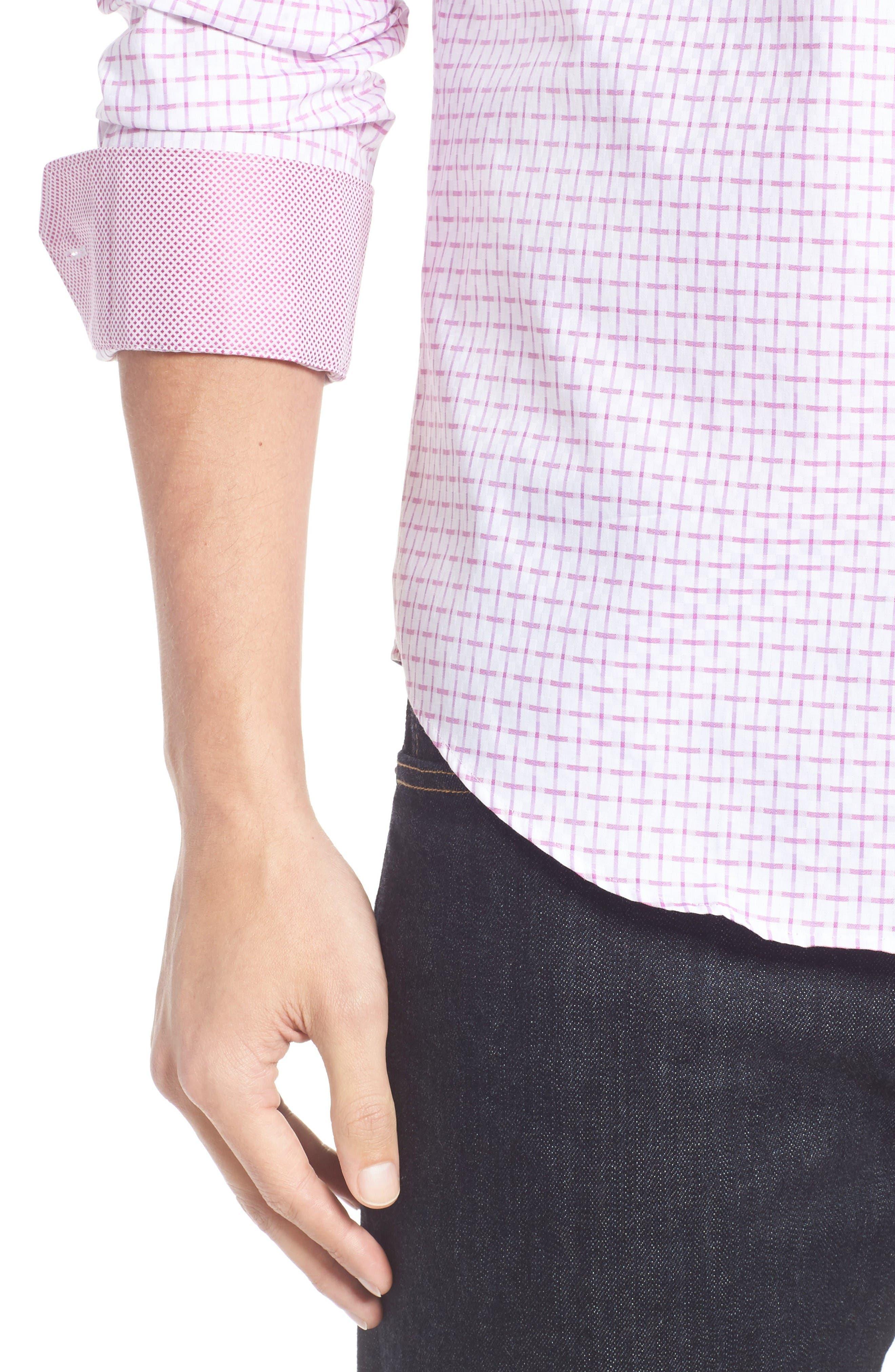 Alternate Image 4  - Bugatchi Shaped Fit Sport Shirt