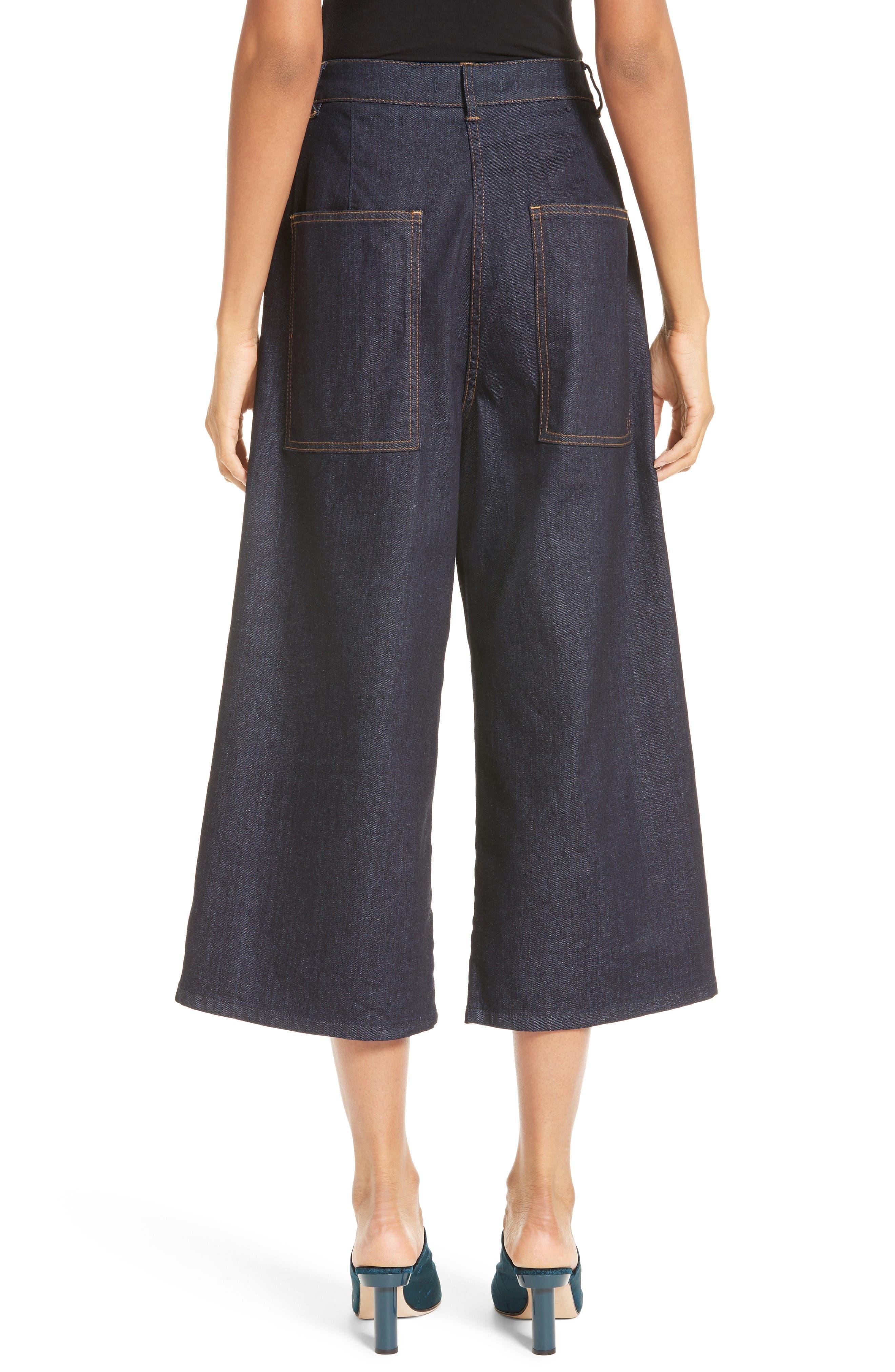 Sam High Waist Culotte Jeans,                             Alternate thumbnail 3, color,                             Dark Denim