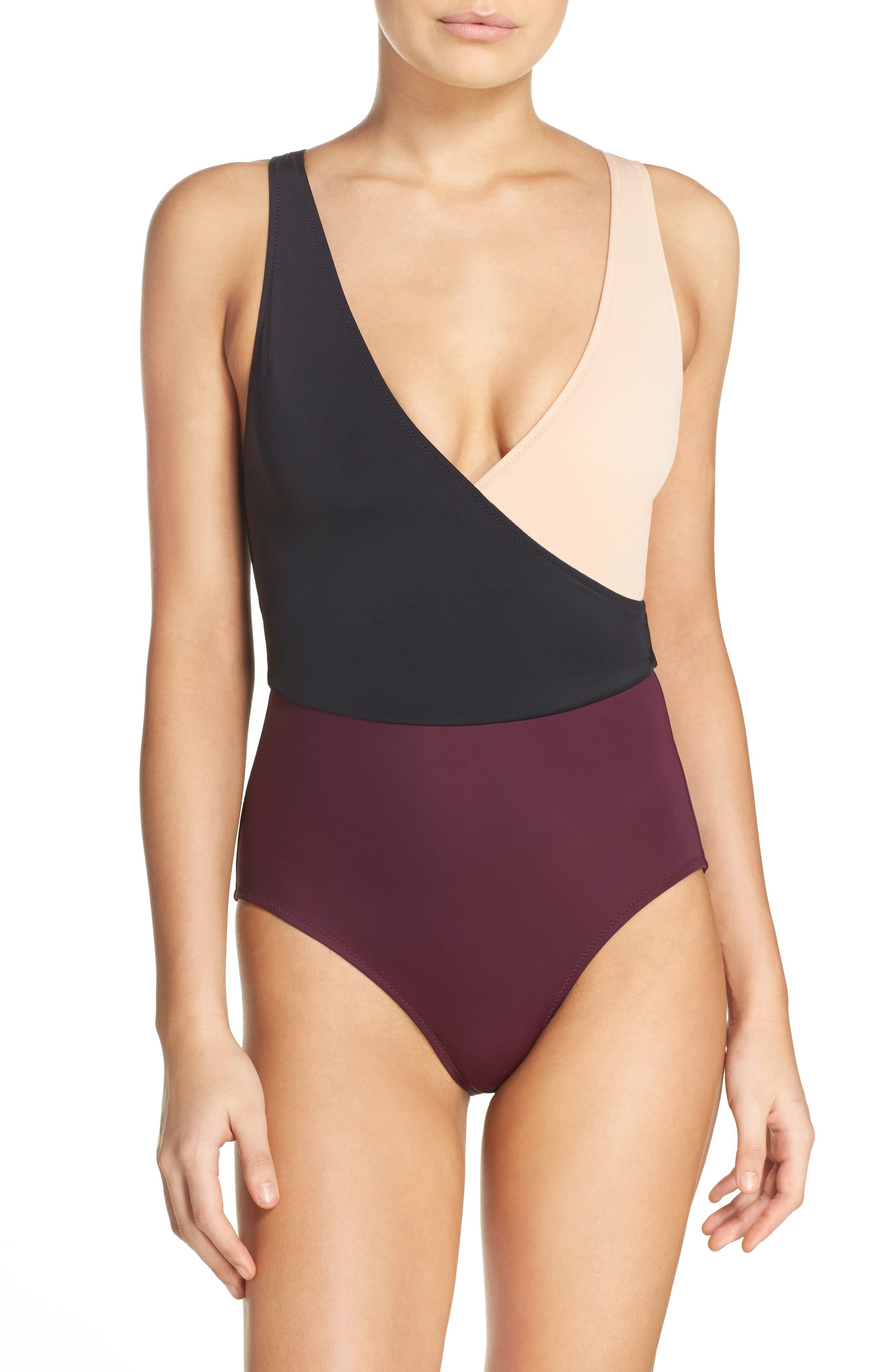 Alternate Image 1 Selected - Solid & Striped Ballerina One-Piece Swimsuit