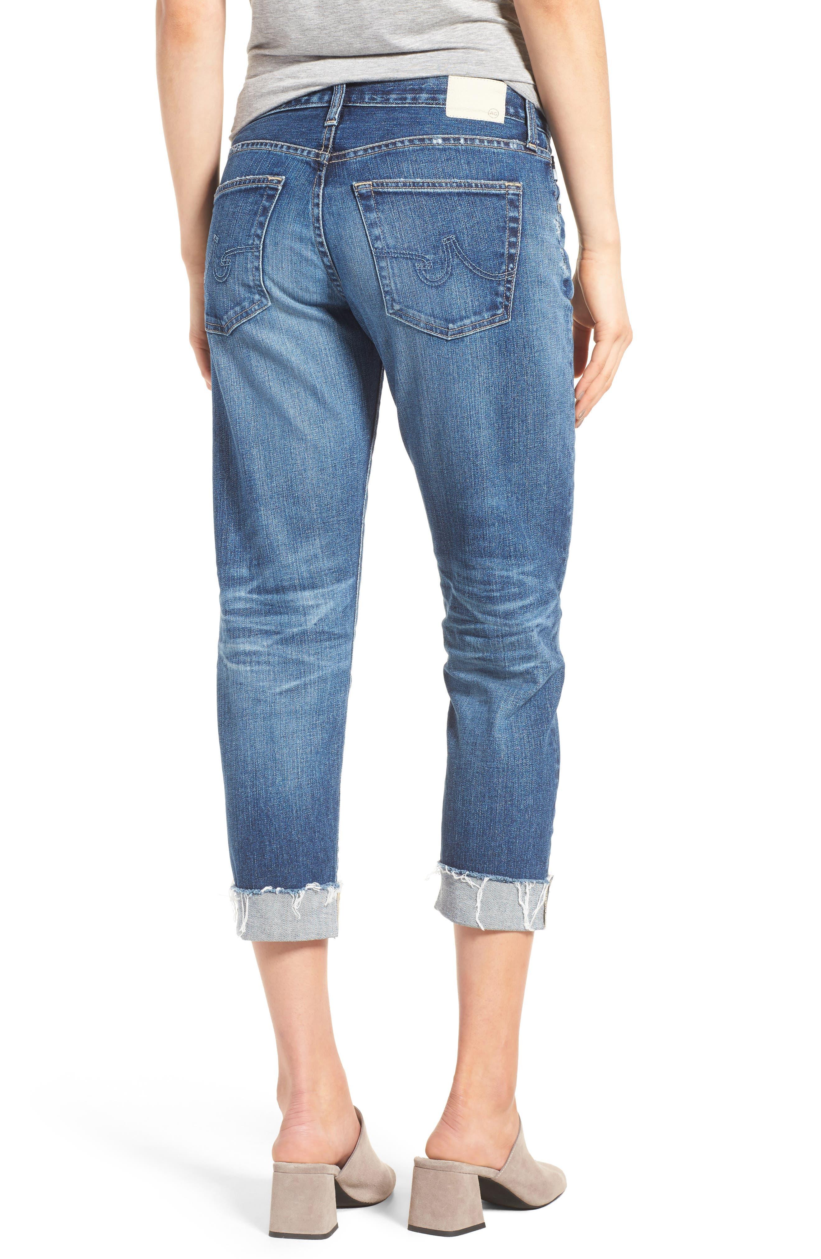 Alternate Image 2  - AG The Ex Boyfriend Crop Jeans (12 Years Blue Aura)