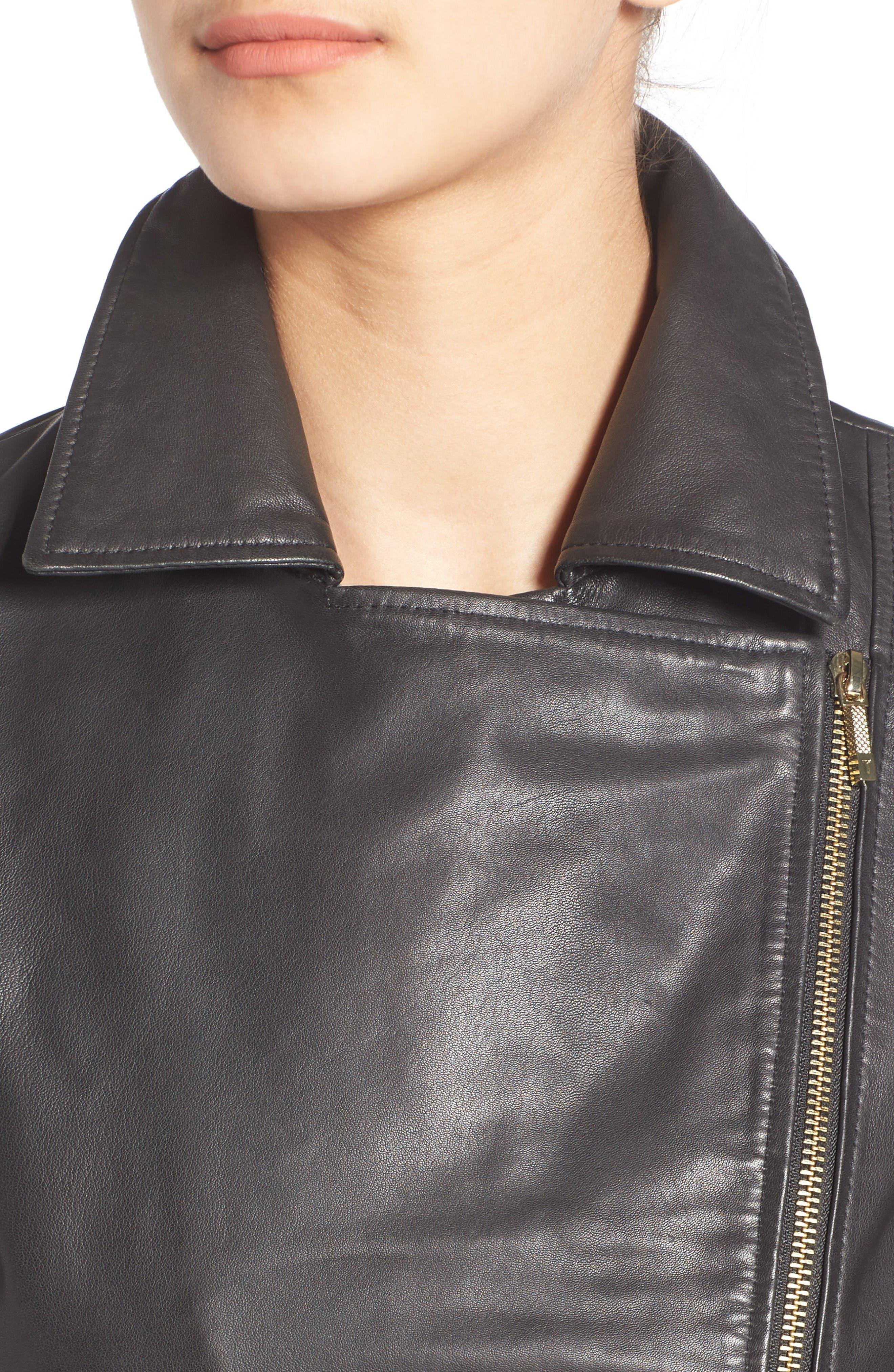 Alternate Image 4  - Ted Baker London Minimal Leather Biker Jacket