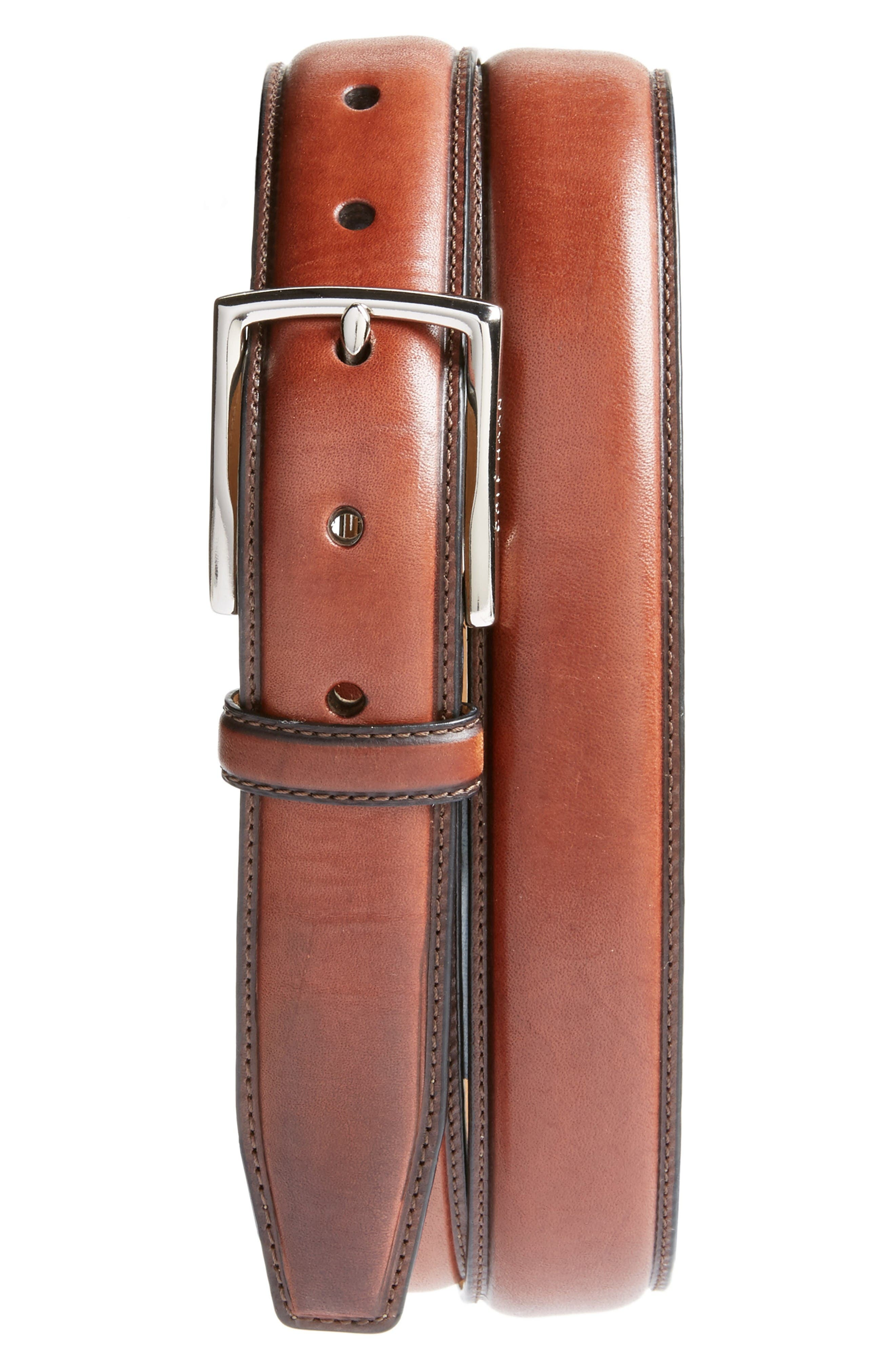 Leather Belt,                         Main,                         color, British Tan/ Nubuck