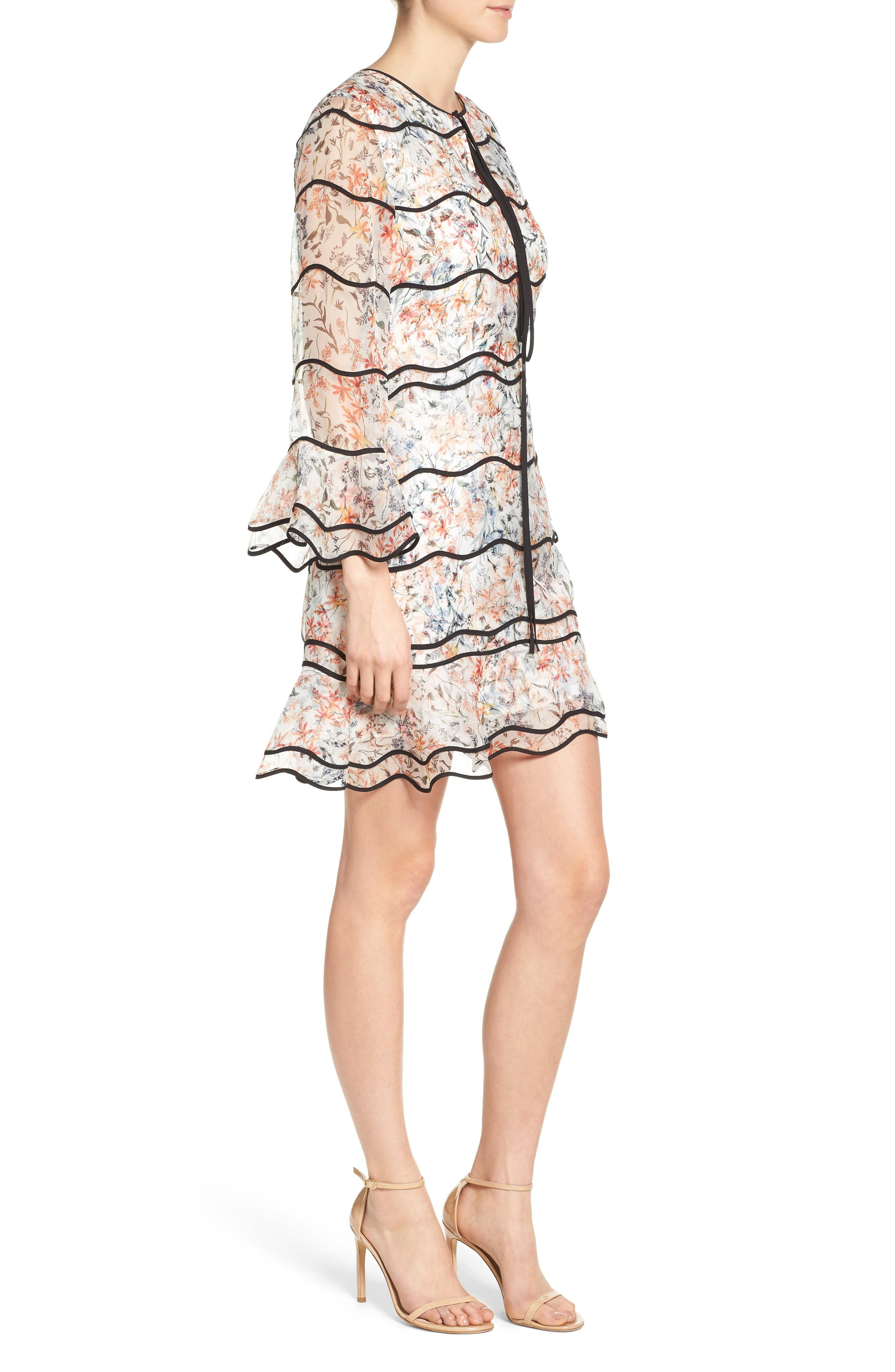 Svetlana Silk Trapeze Dress,                             Alternate thumbnail 3, color,                             Ivory