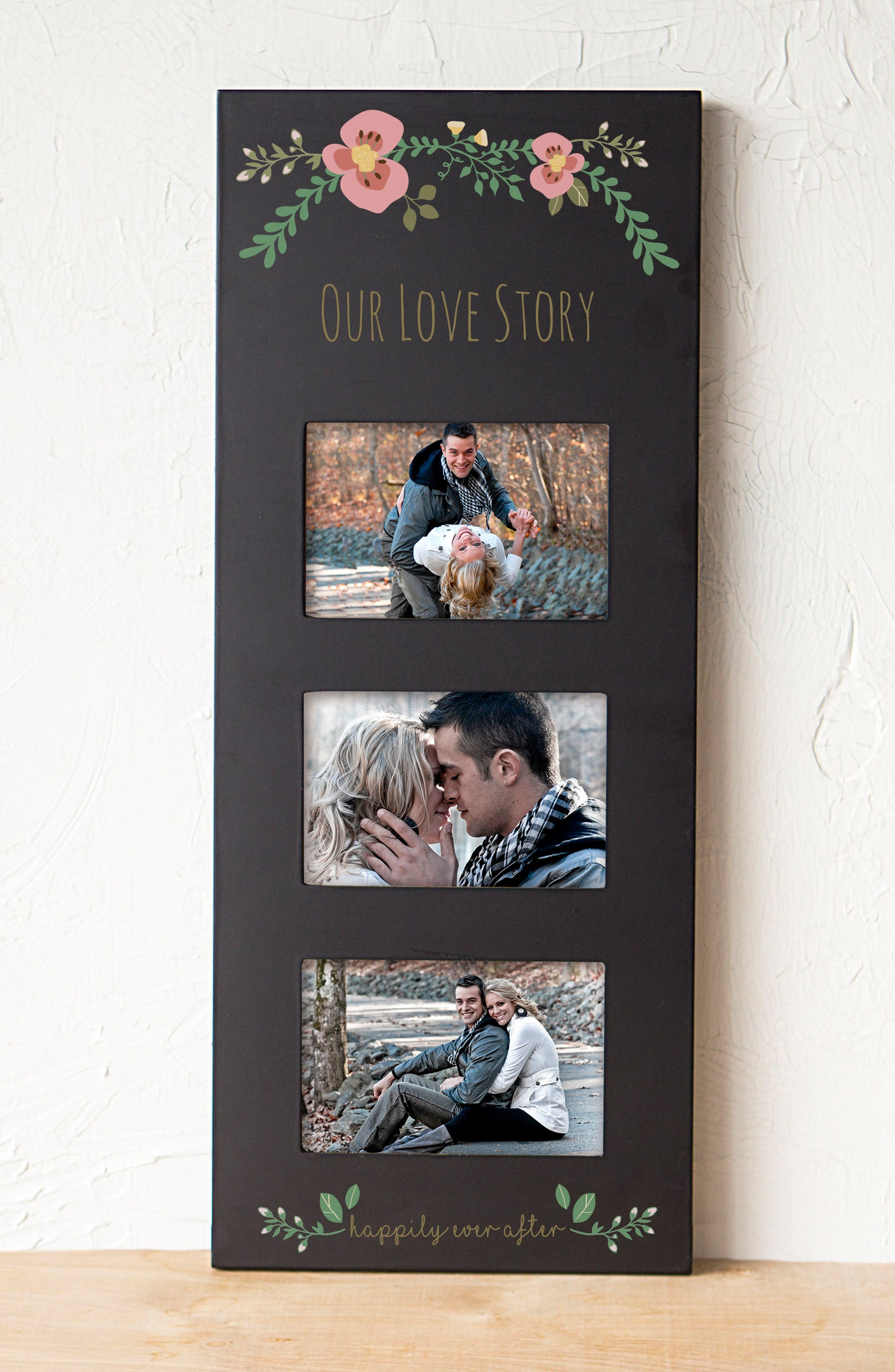 Floral Love Story 3-Window Picture Frame,                             Alternate thumbnail 3, color,                             Black