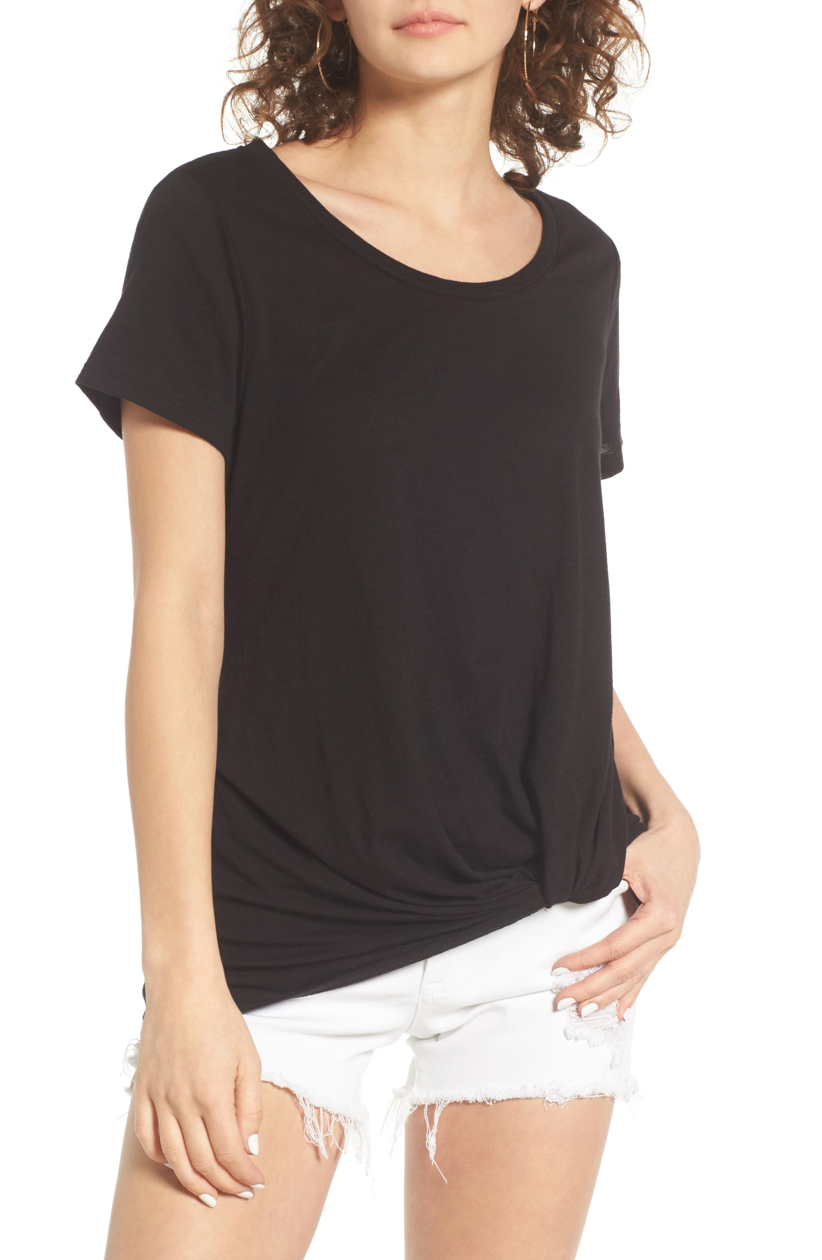 Twist Front Tee,                         Main,                         color, Black