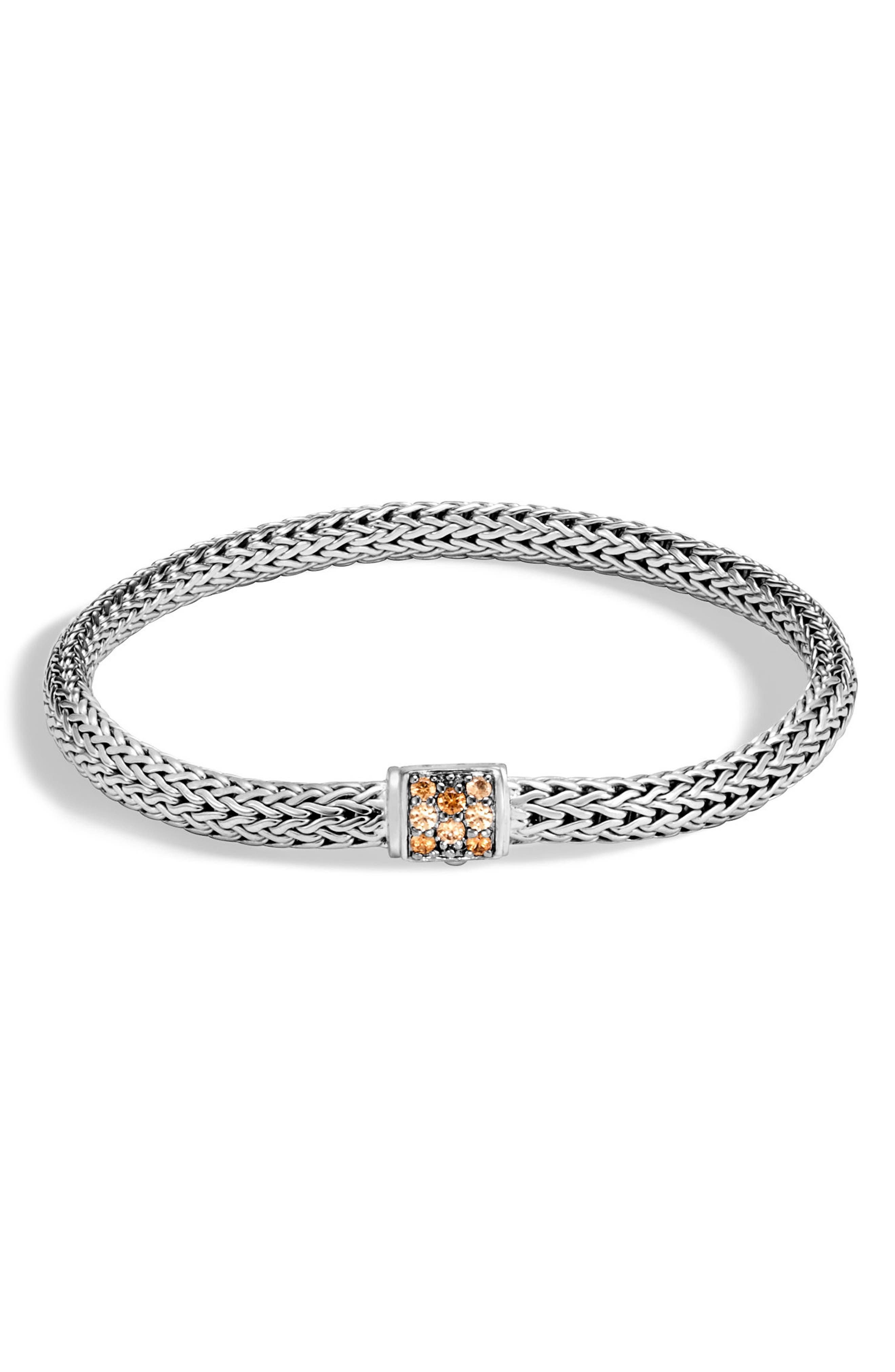 Classic Chain 5mm Bracelet,                         Main,                         color, Silver/ Mandarin Garnet