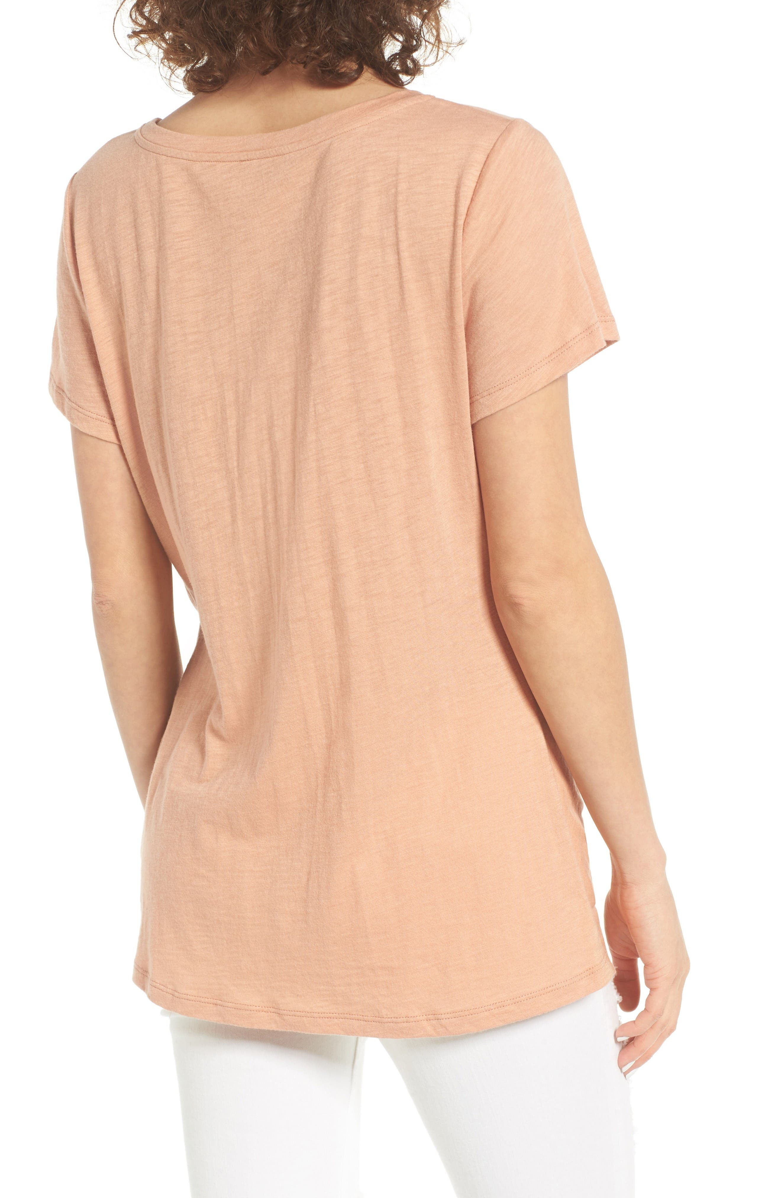 Twist Front Tee,                             Alternate thumbnail 2, color,                             Tan Cork