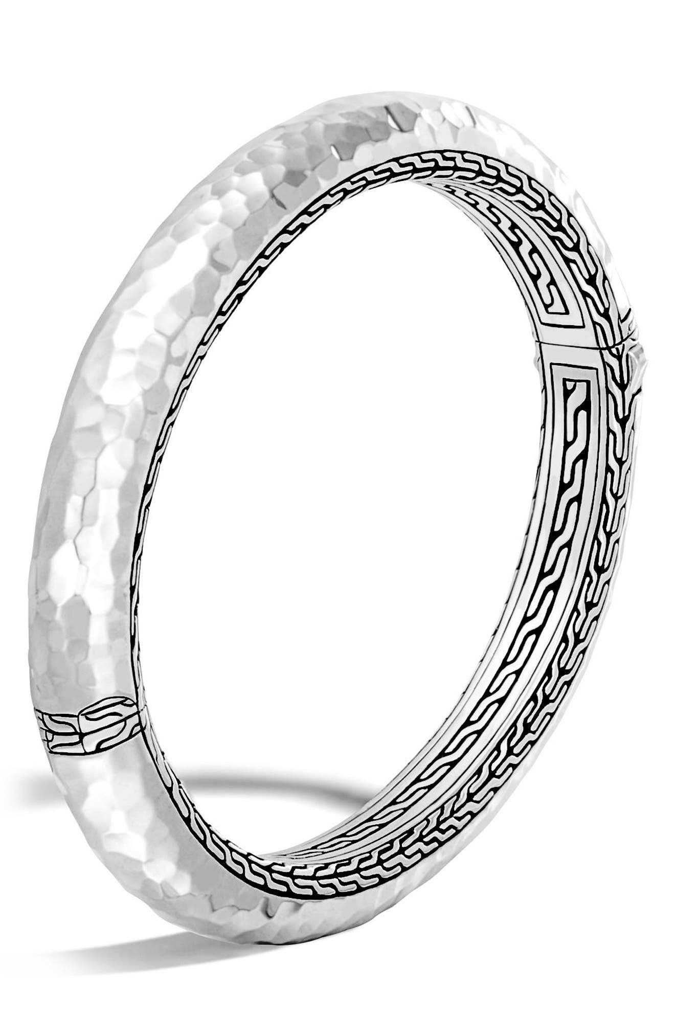 Classic Chain 8.5mm Hammered Hinged Bangle,                         Main,                         color, Silver