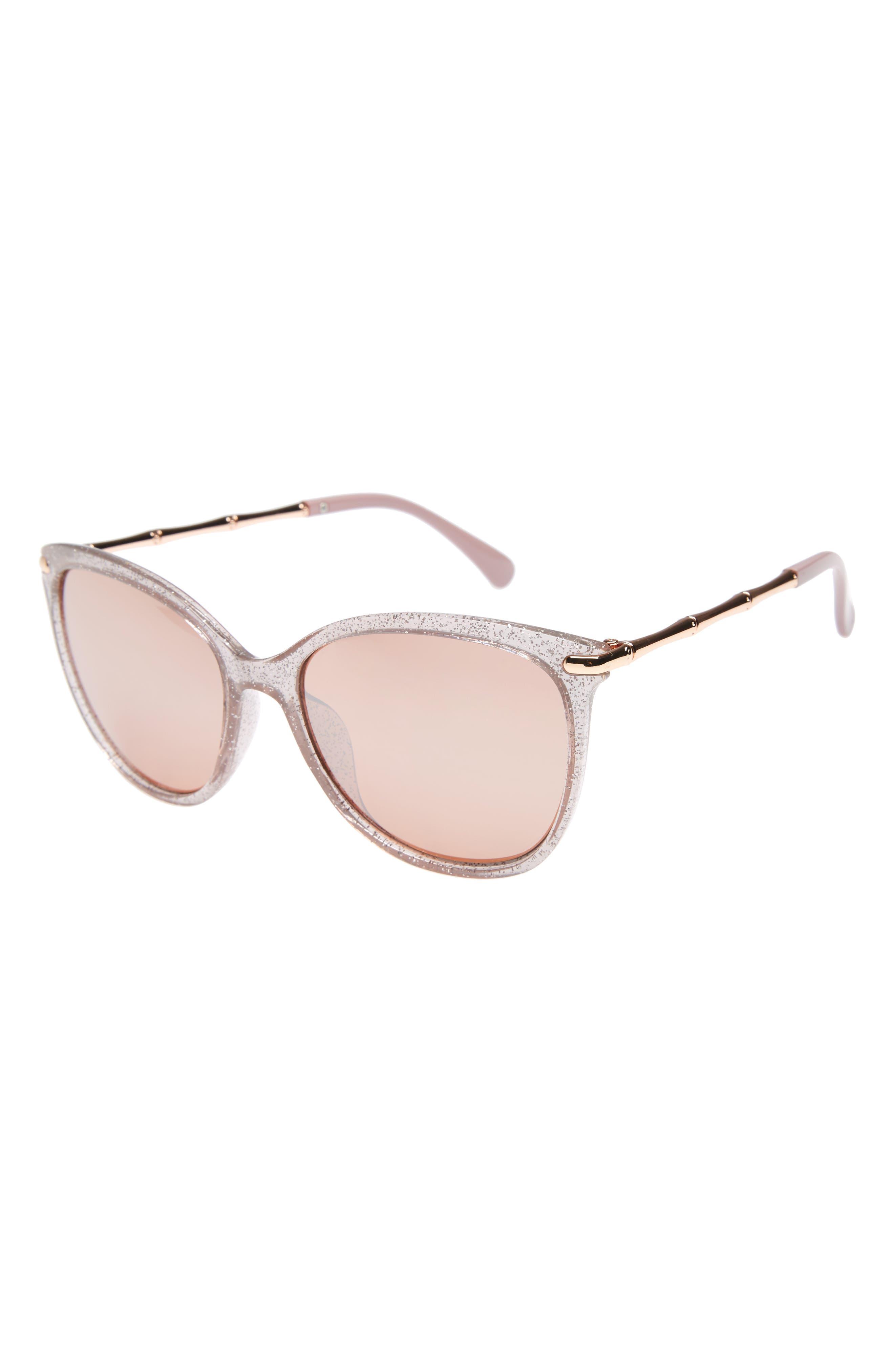 Glitter Sunglasses,                             Main thumbnail 1, color,                             Pink Glitter/ Rose Gold