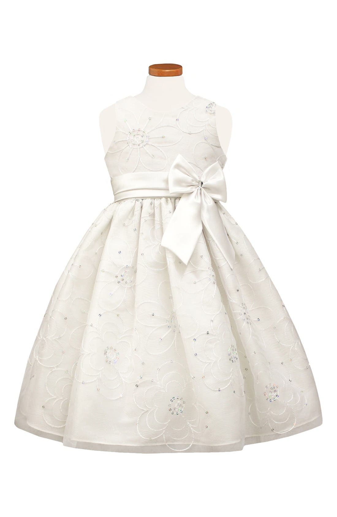 Floral Satin Fit & Flare Dress,                         Main,                         color, White