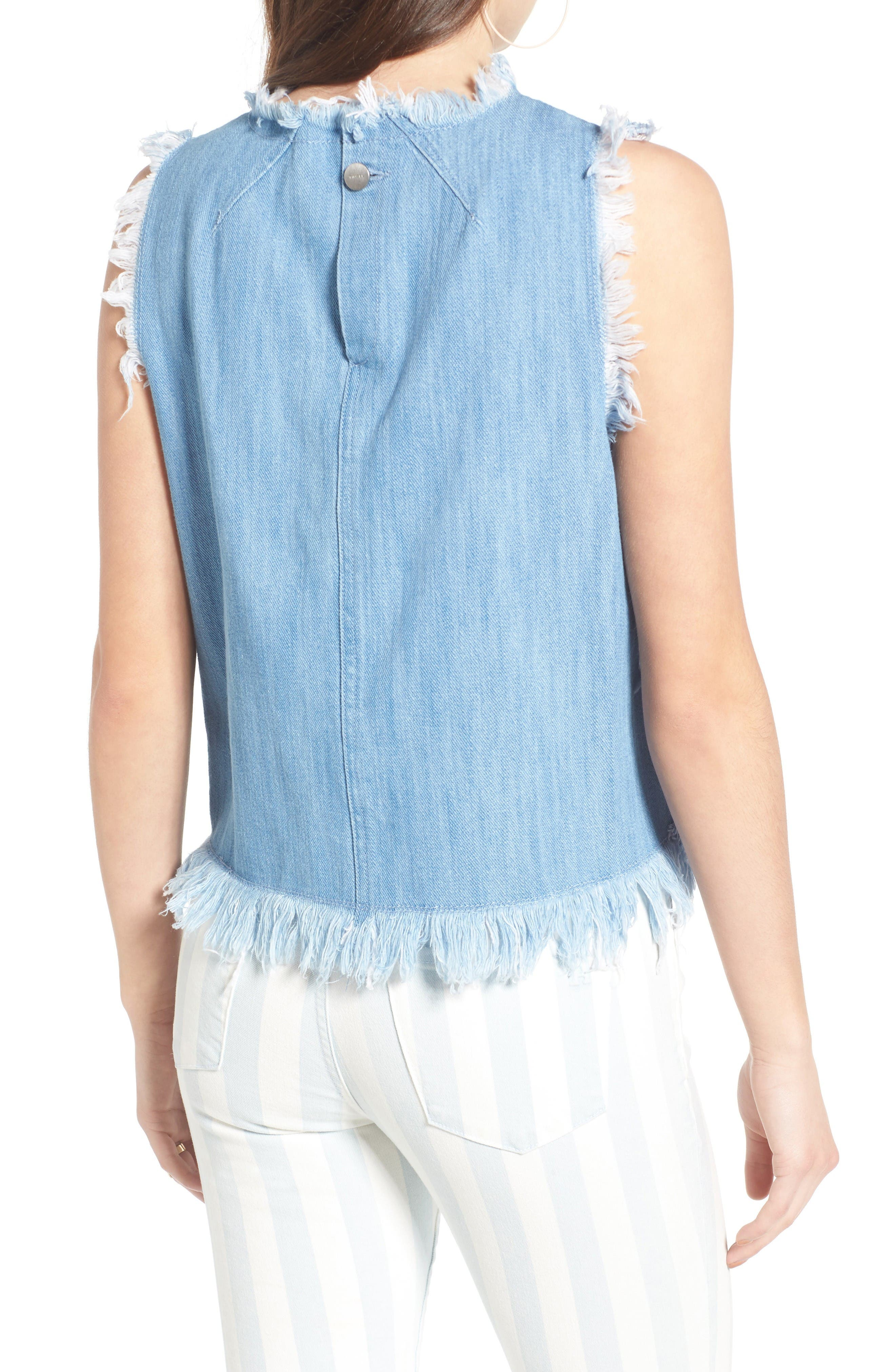 Raw Edge Denim Tank,                             Alternate thumbnail 2, color,                             Light Wash