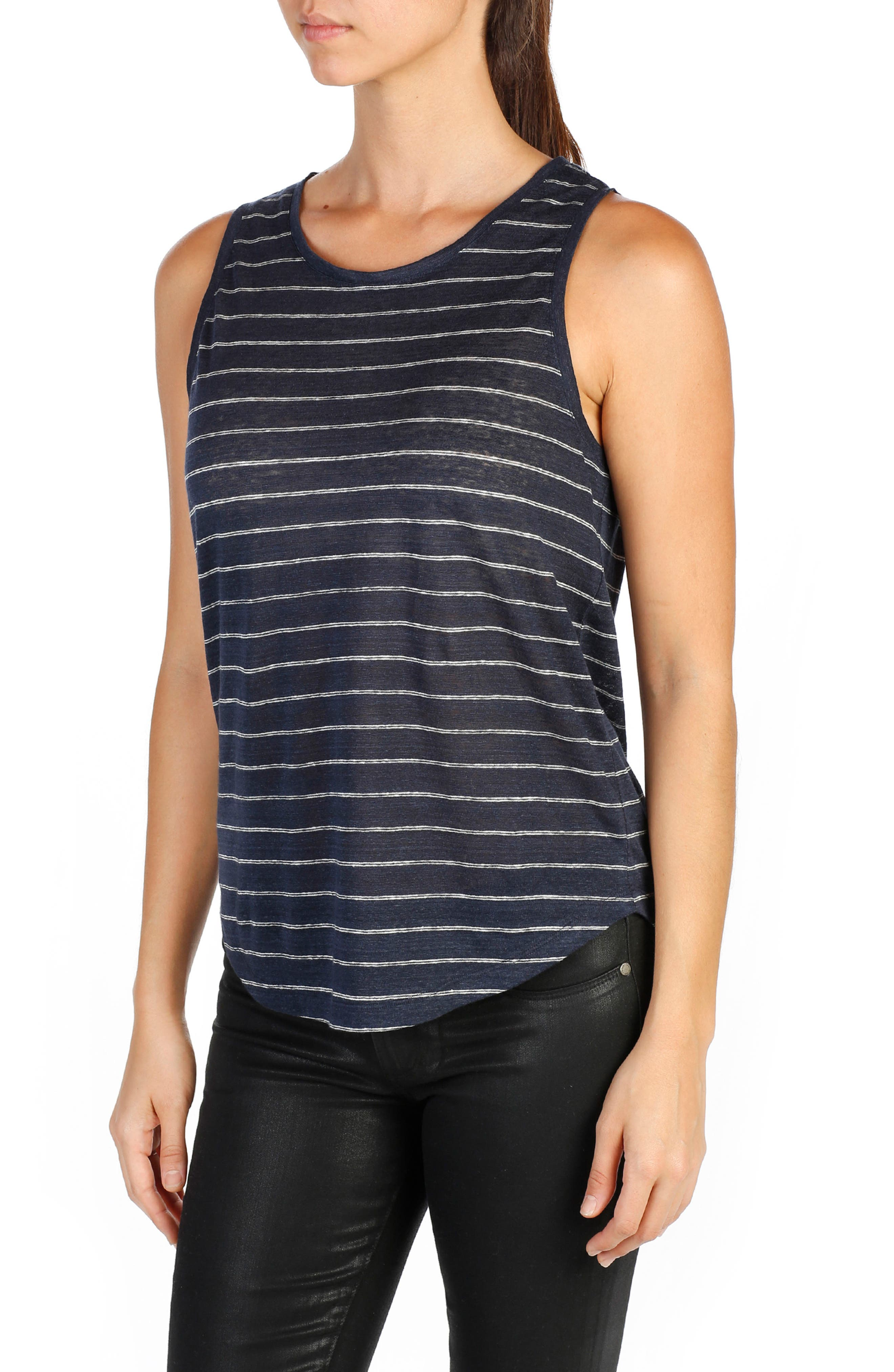 Analia Linen Tank,                             Main thumbnail 1, color,                             Dark Ink Blue/ White