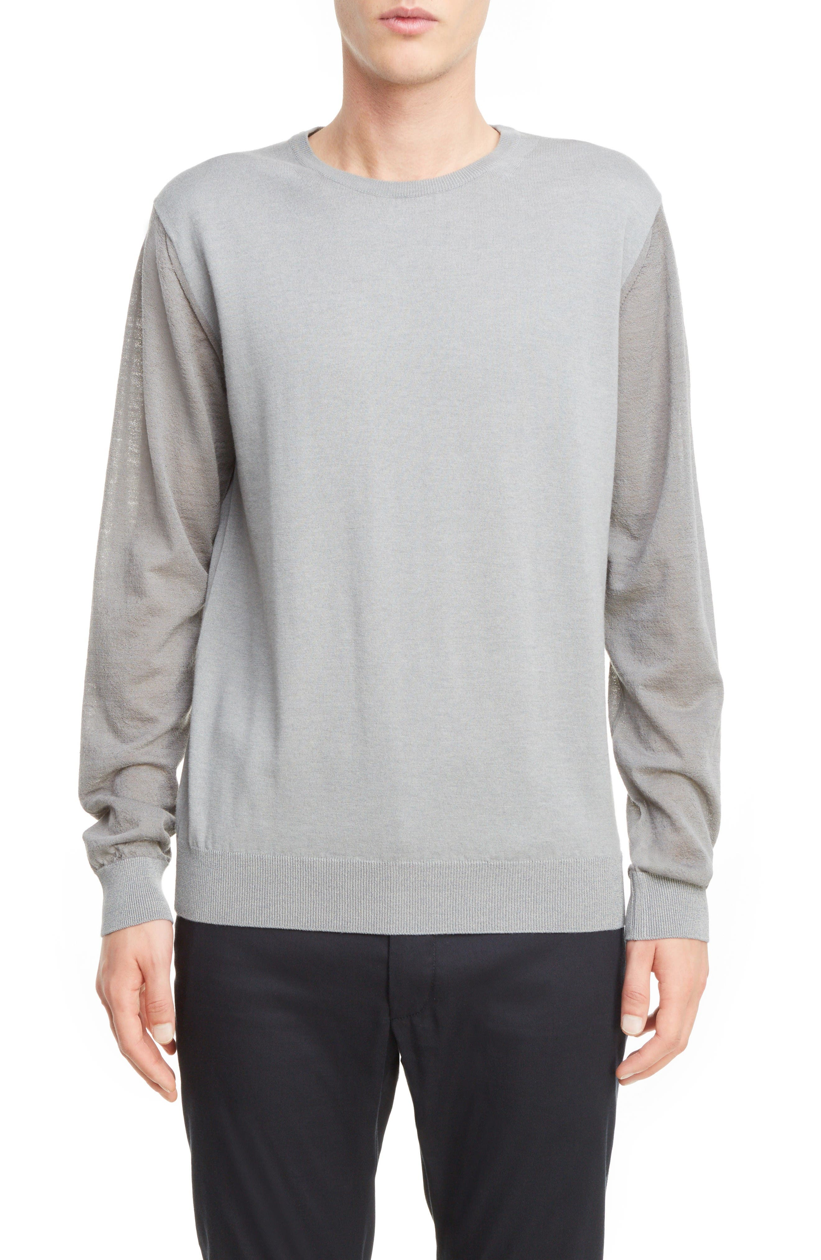Cotton & Wool Colorblock Pullover,                             Main thumbnail 1, color,                             Light Grey