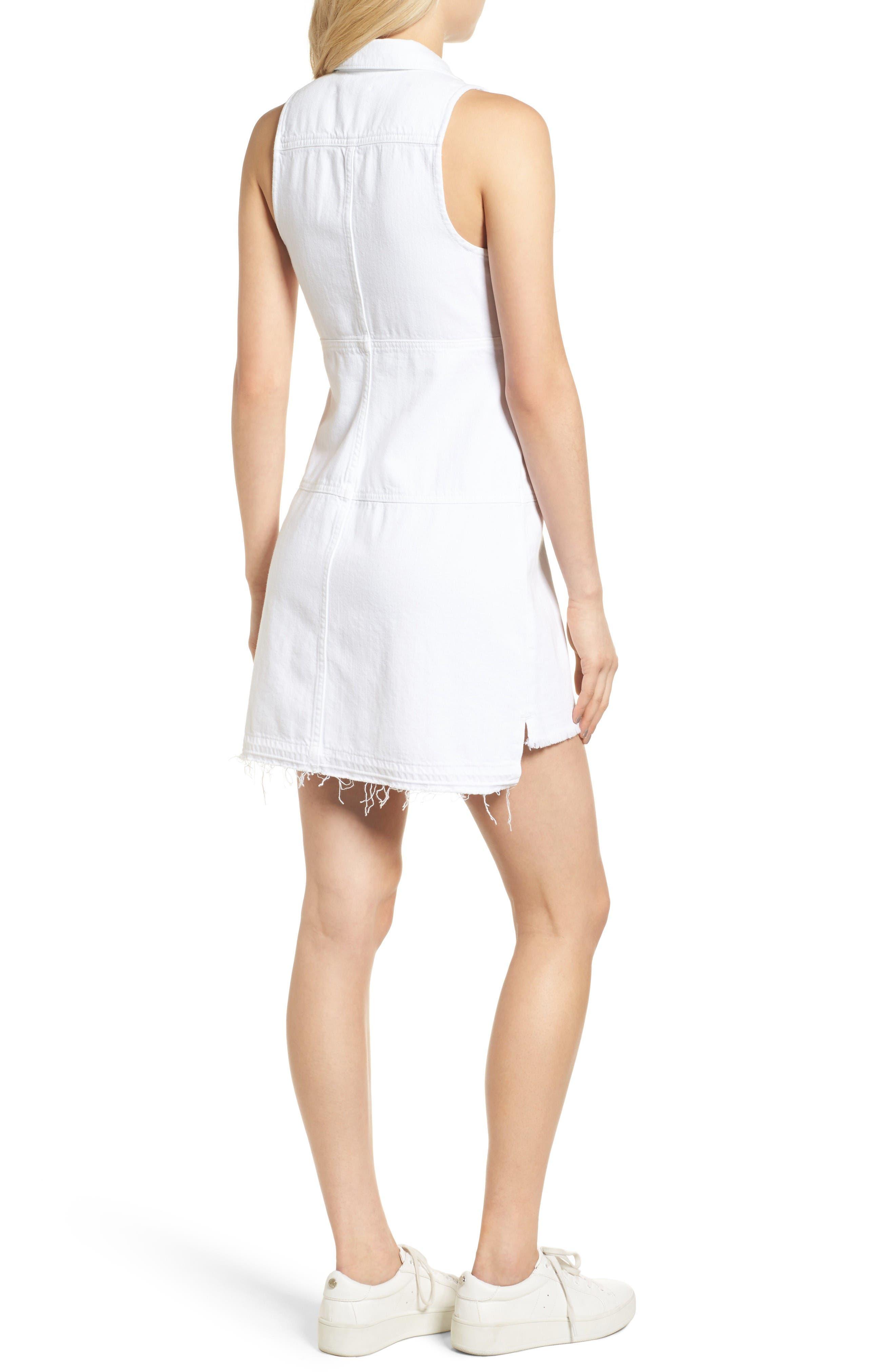 Released Hem Denim Shirtdress,                             Alternate thumbnail 3, color,                             Luxe Lounge White