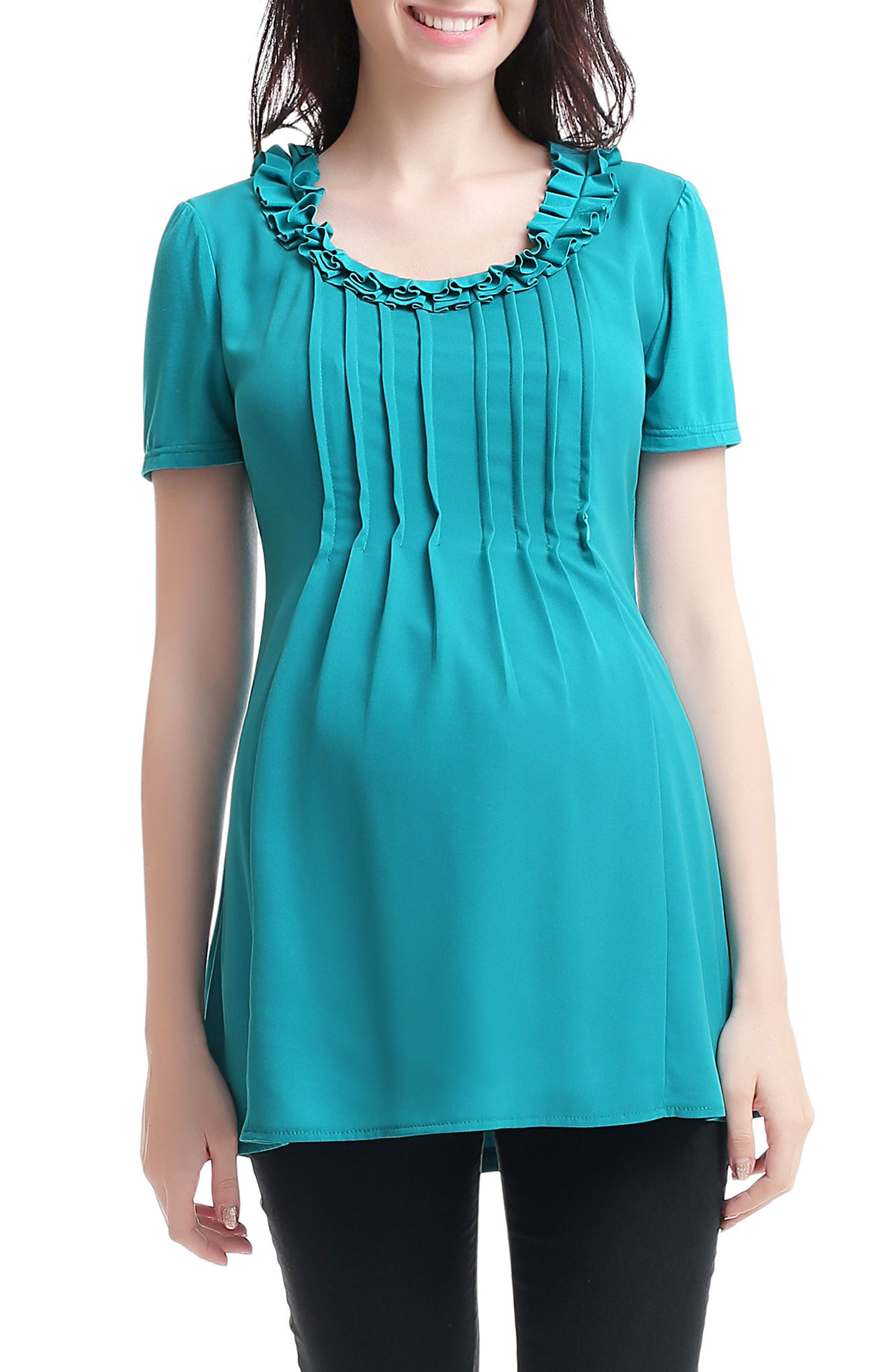 Chiana Maternity/Nursing Top,                             Main thumbnail 1, color,                             Teal