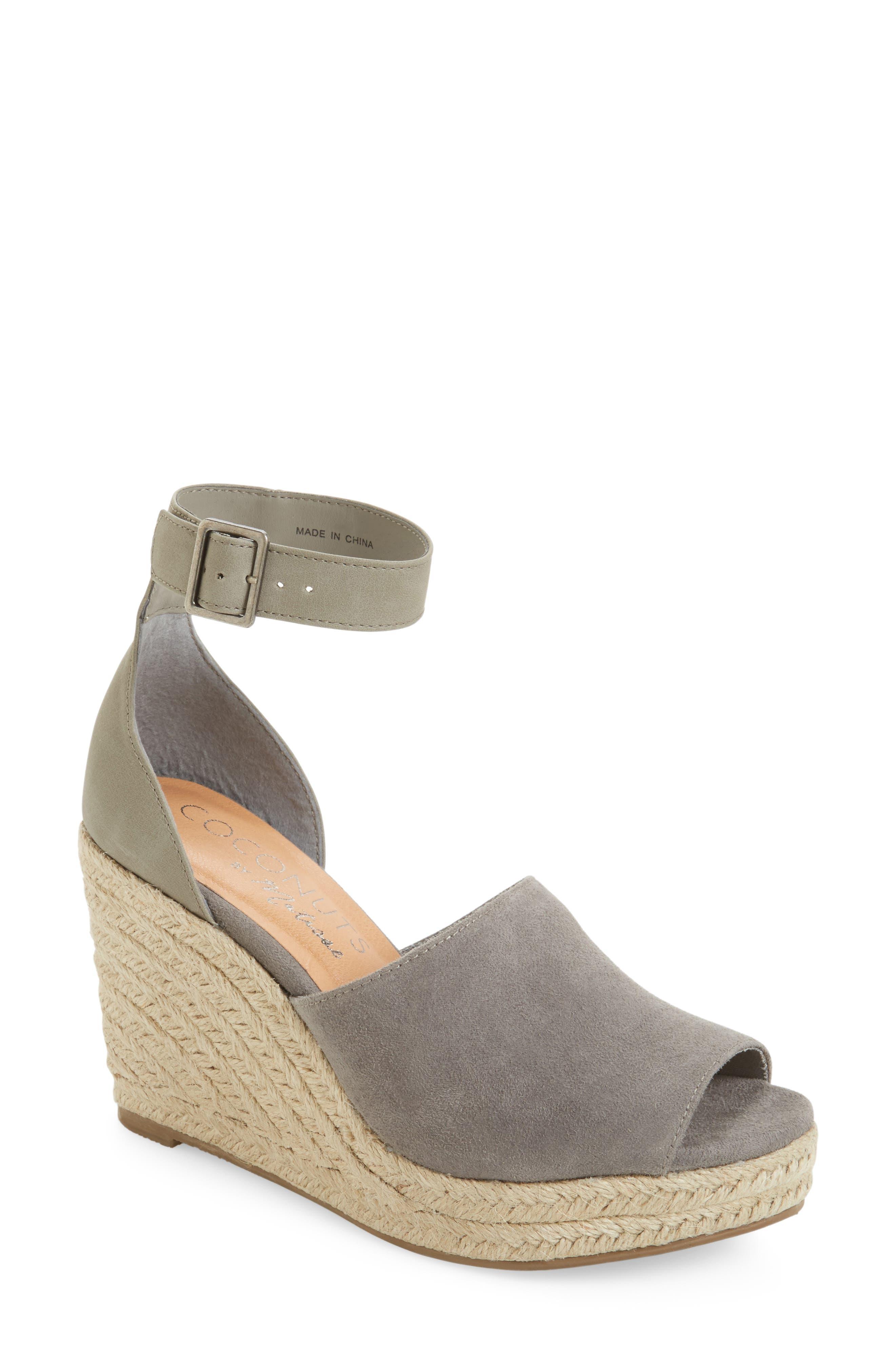 Flamingo Wedge Sandal,                             Main thumbnail 1, color,                             Grey Leather