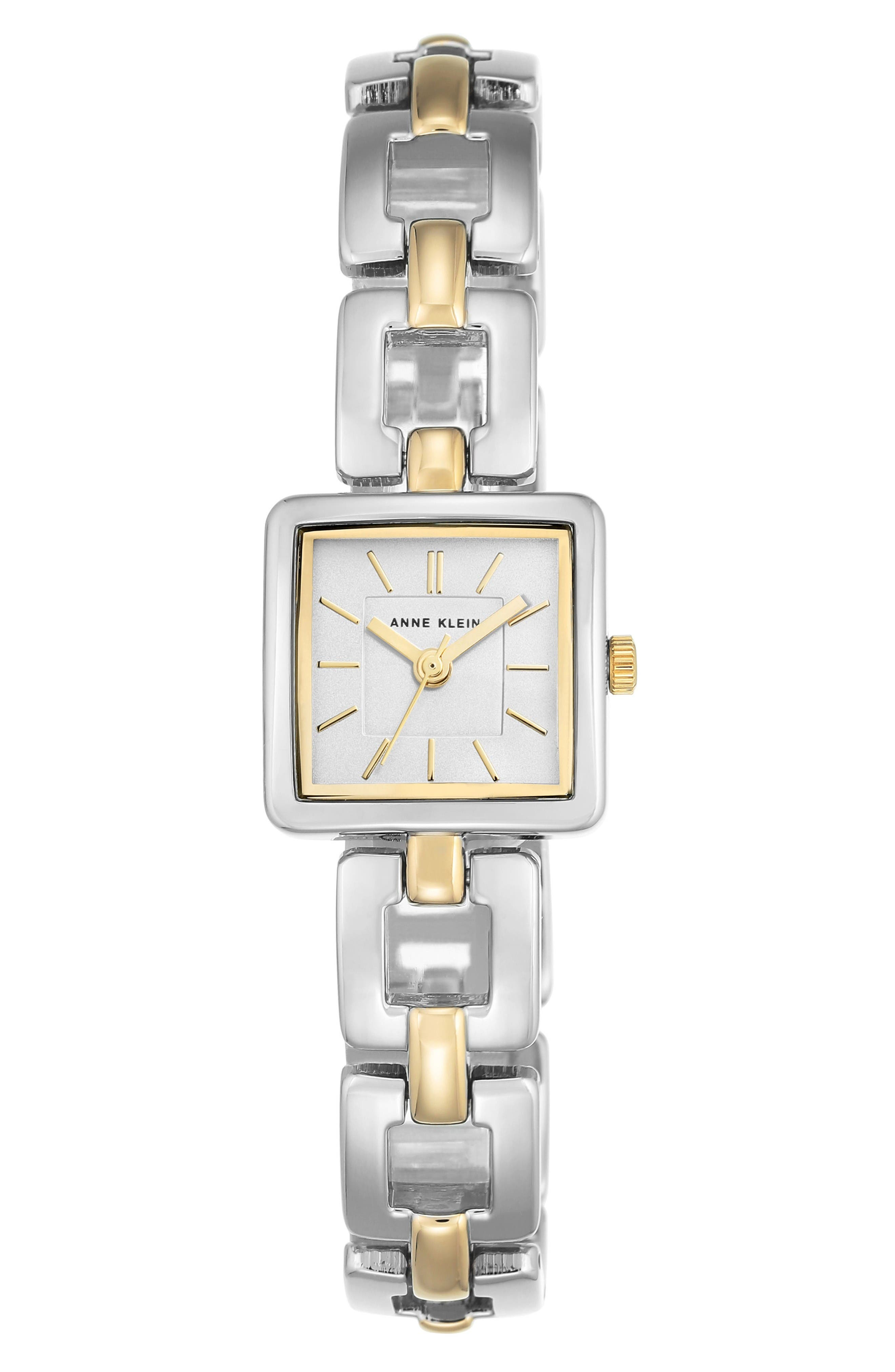Square Bracelet Watch, 20mm,                         Main,                         color, Silver/ Gold