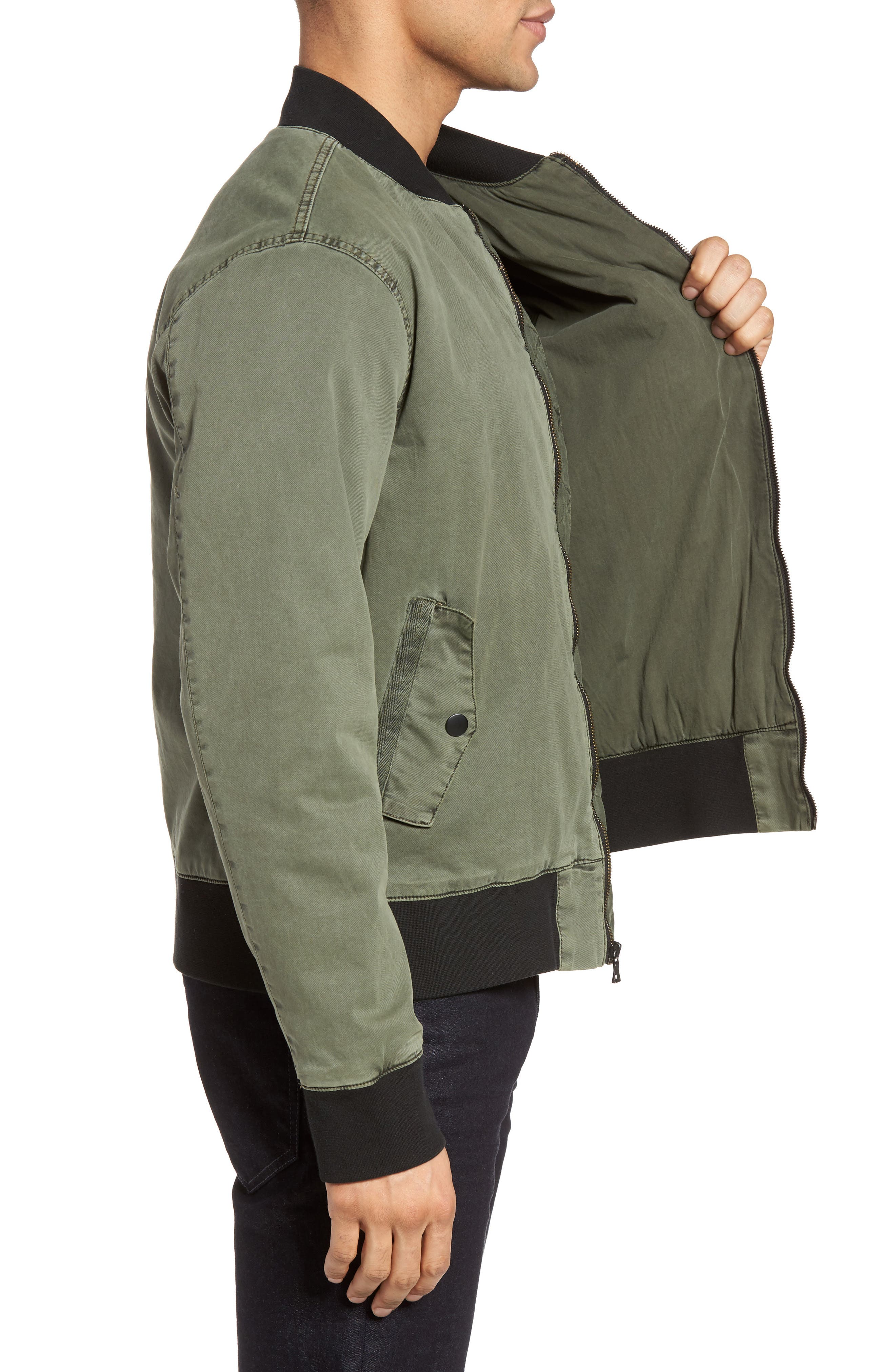 Knox Twill Bomber Jacket,                             Alternate thumbnail 3, color,                             Infantry Green