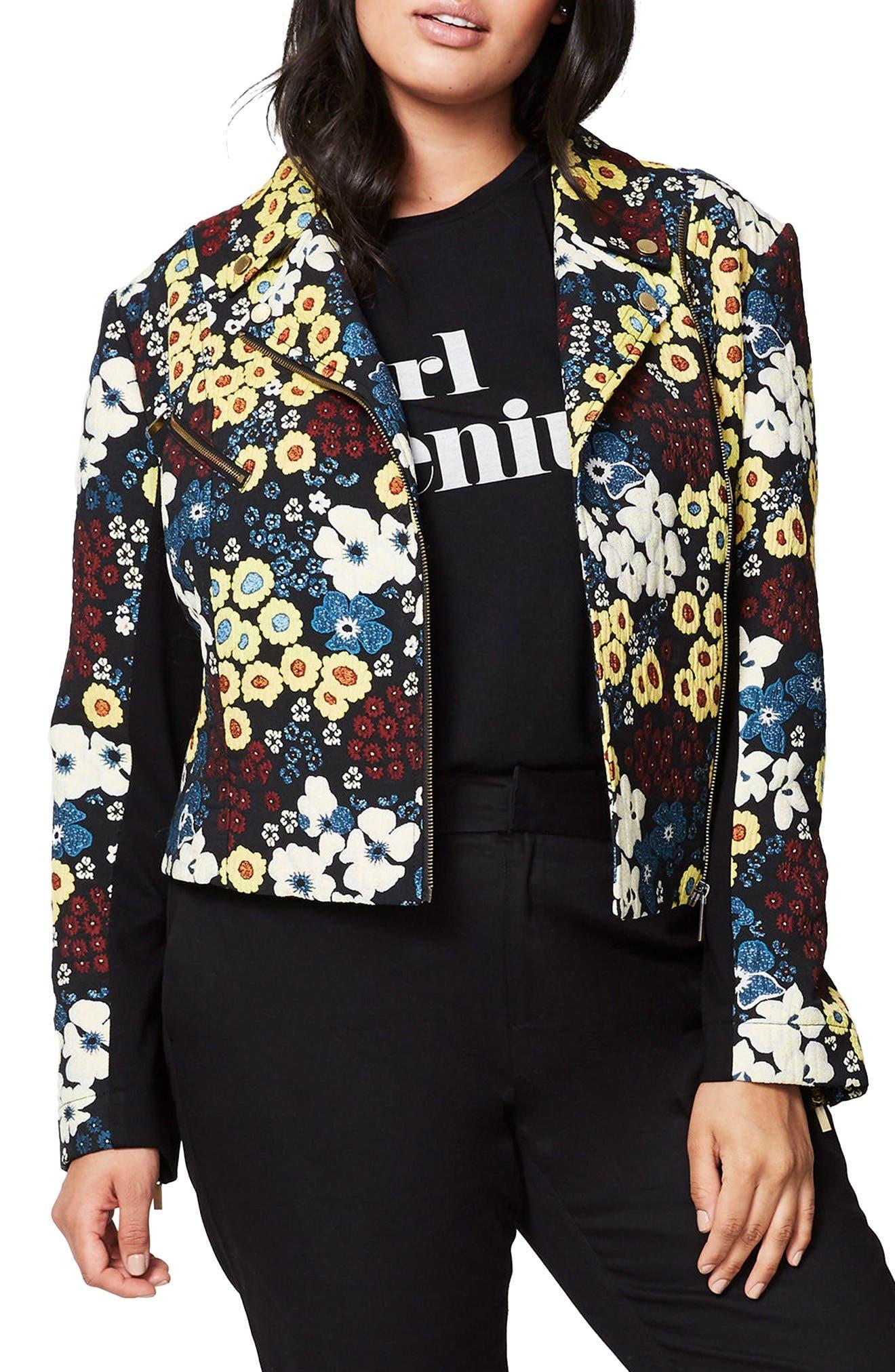 Alternate Image 1 Selected - RACHEL Rachel Roy Floral Moto Jacket (Plus Size)