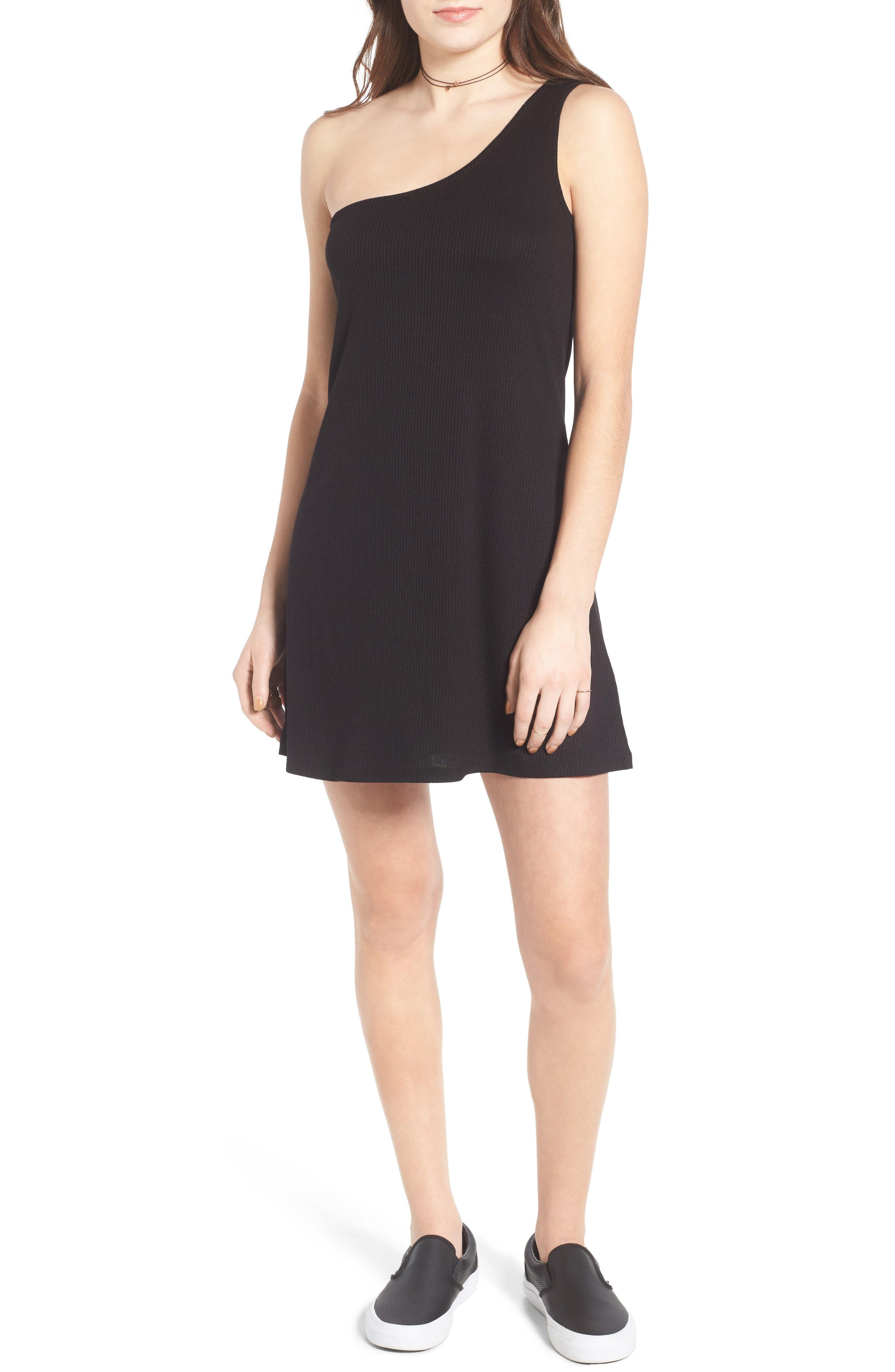 Love, Fire Knit One-Shoulder Shift Dress