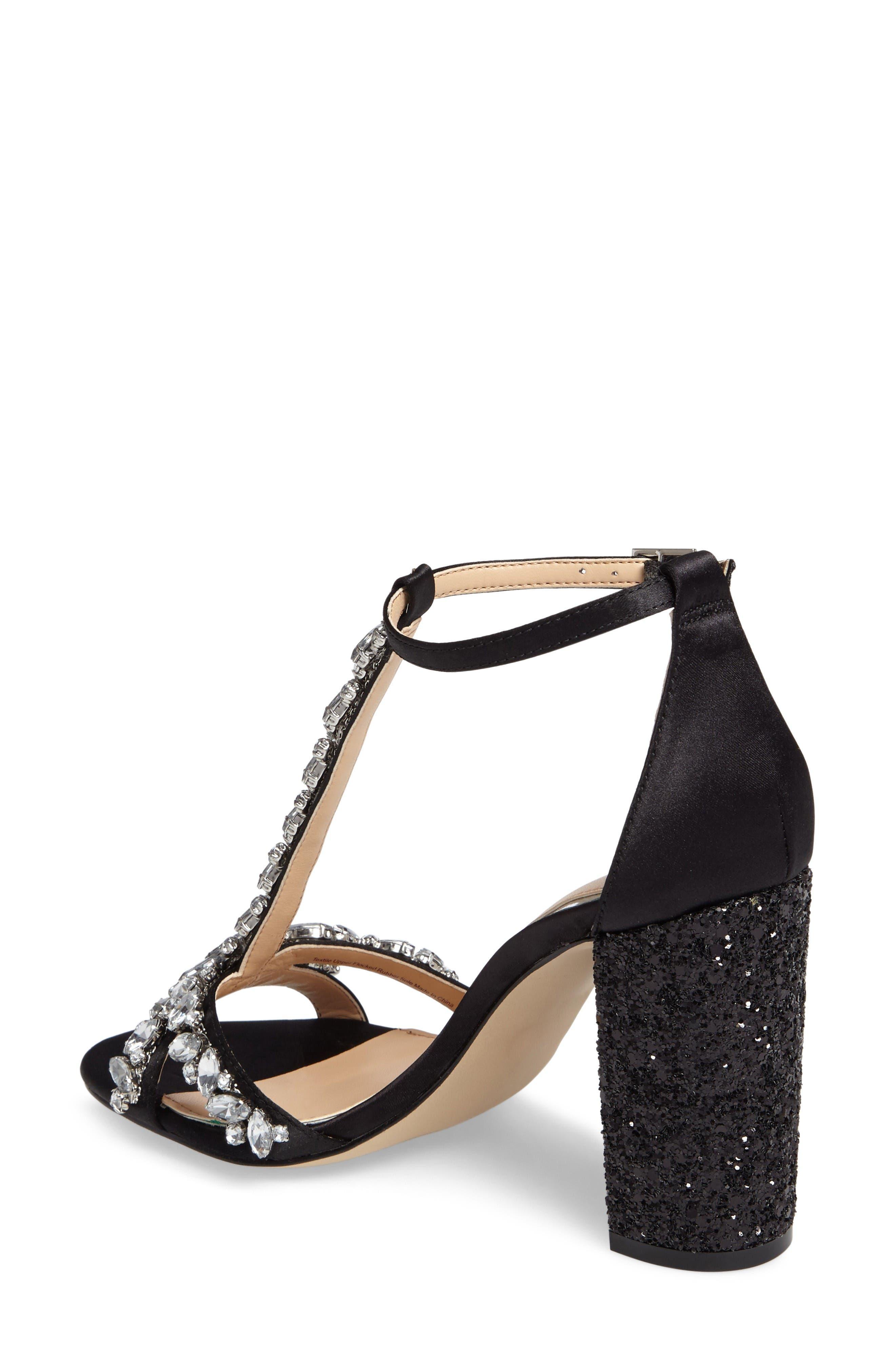Carver Block Heel Sandal,                             Alternate thumbnail 2, color,                             Black Satin