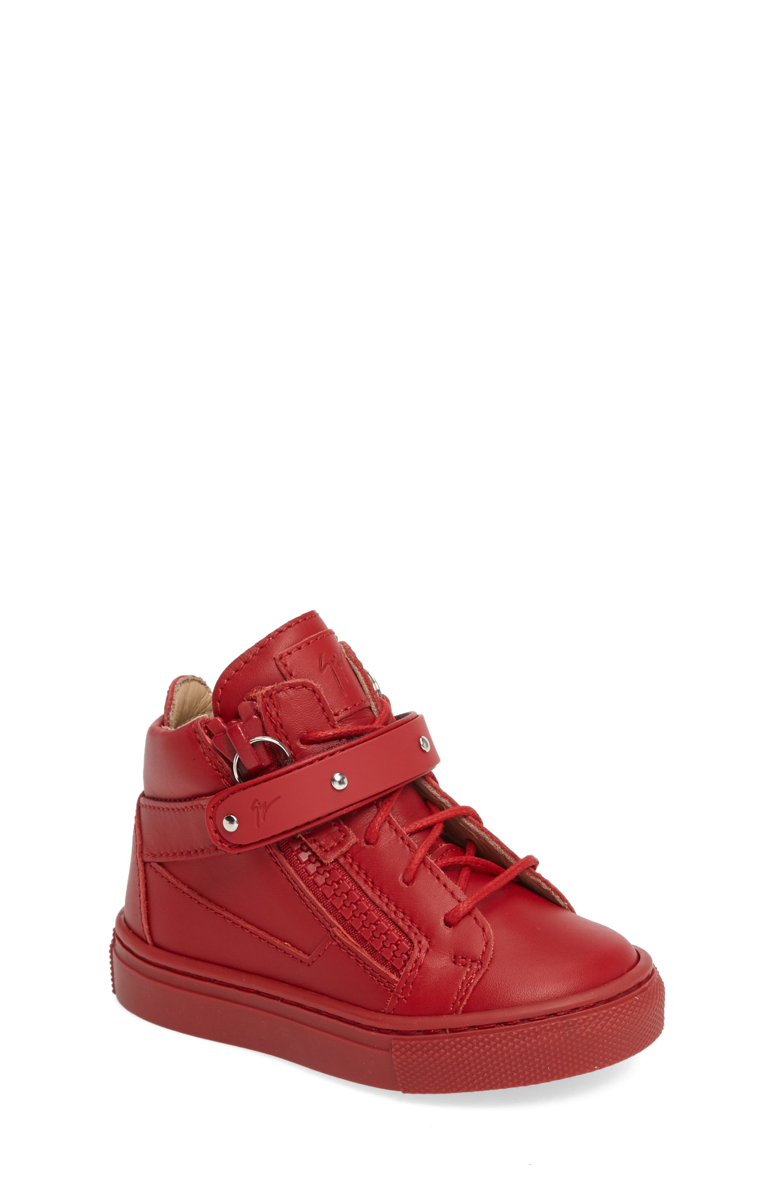 Taylor Junior High Top Sneaker,                             Main thumbnail 1, color,                             Red Leather