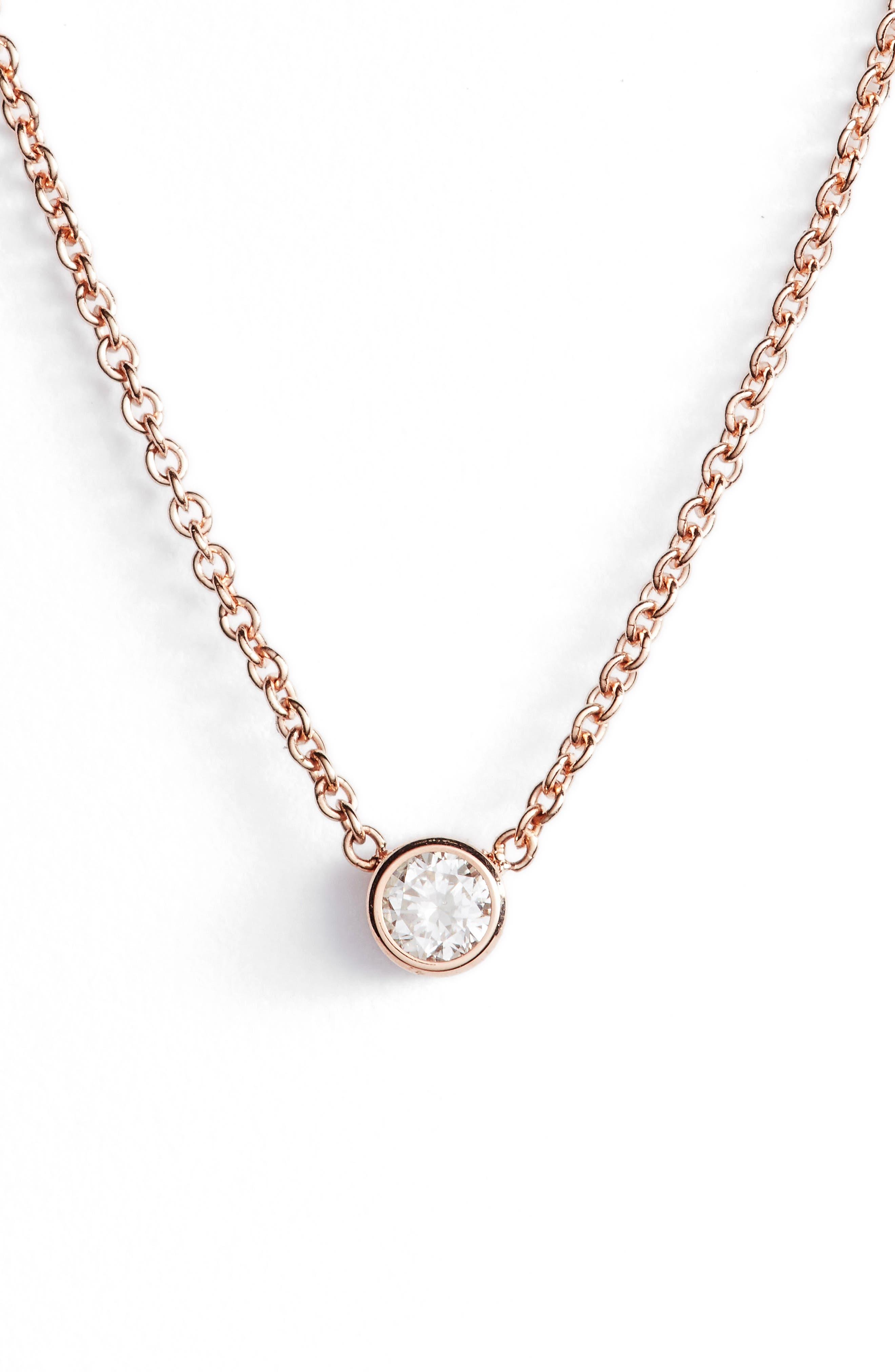 Diamond Bezel Pendant Necklace,                         Main,                         color, Rose Gold