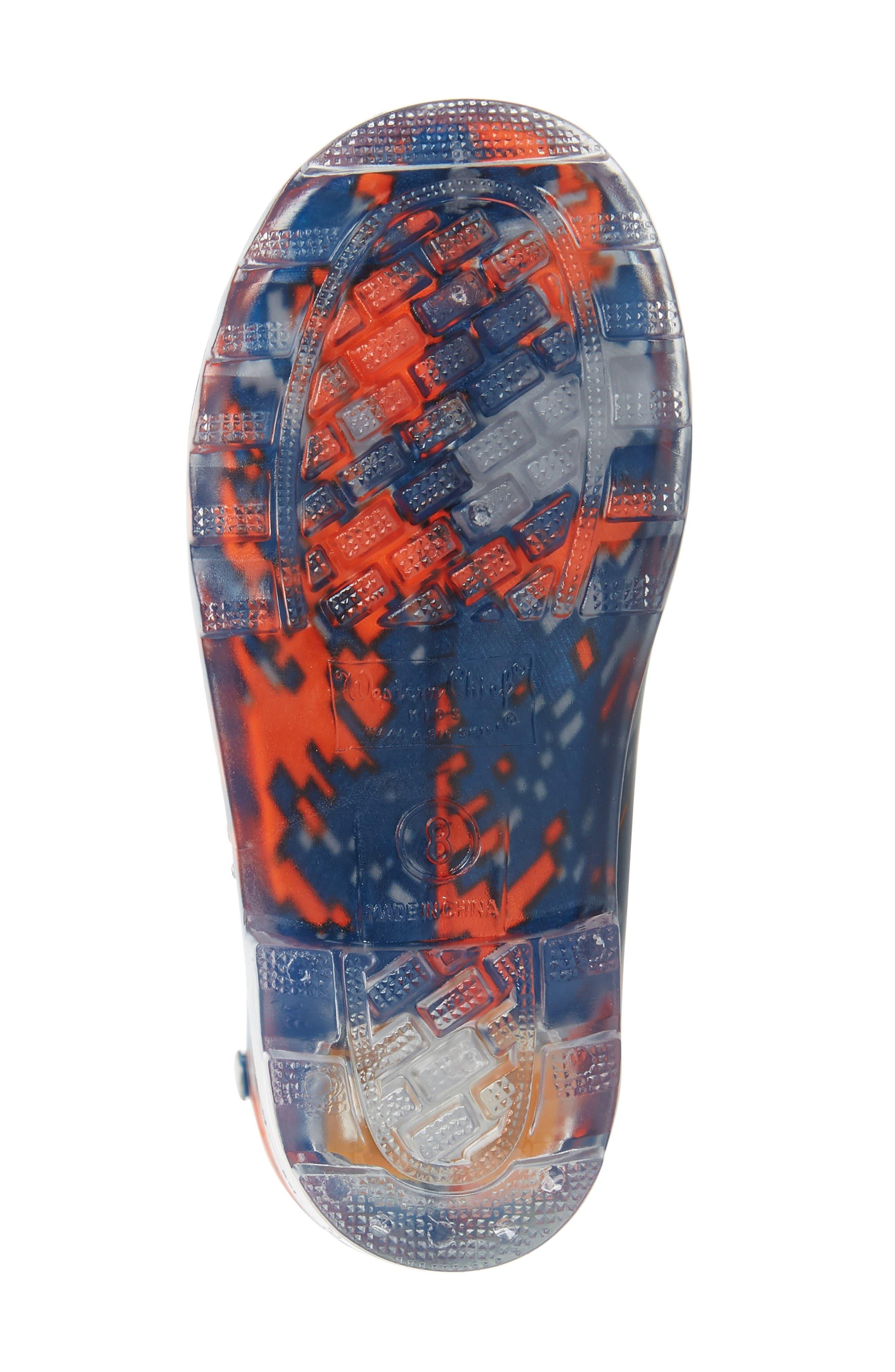 Digital Camo Light-Up Rain Boot,                             Alternate thumbnail 4, color,                             Navy
