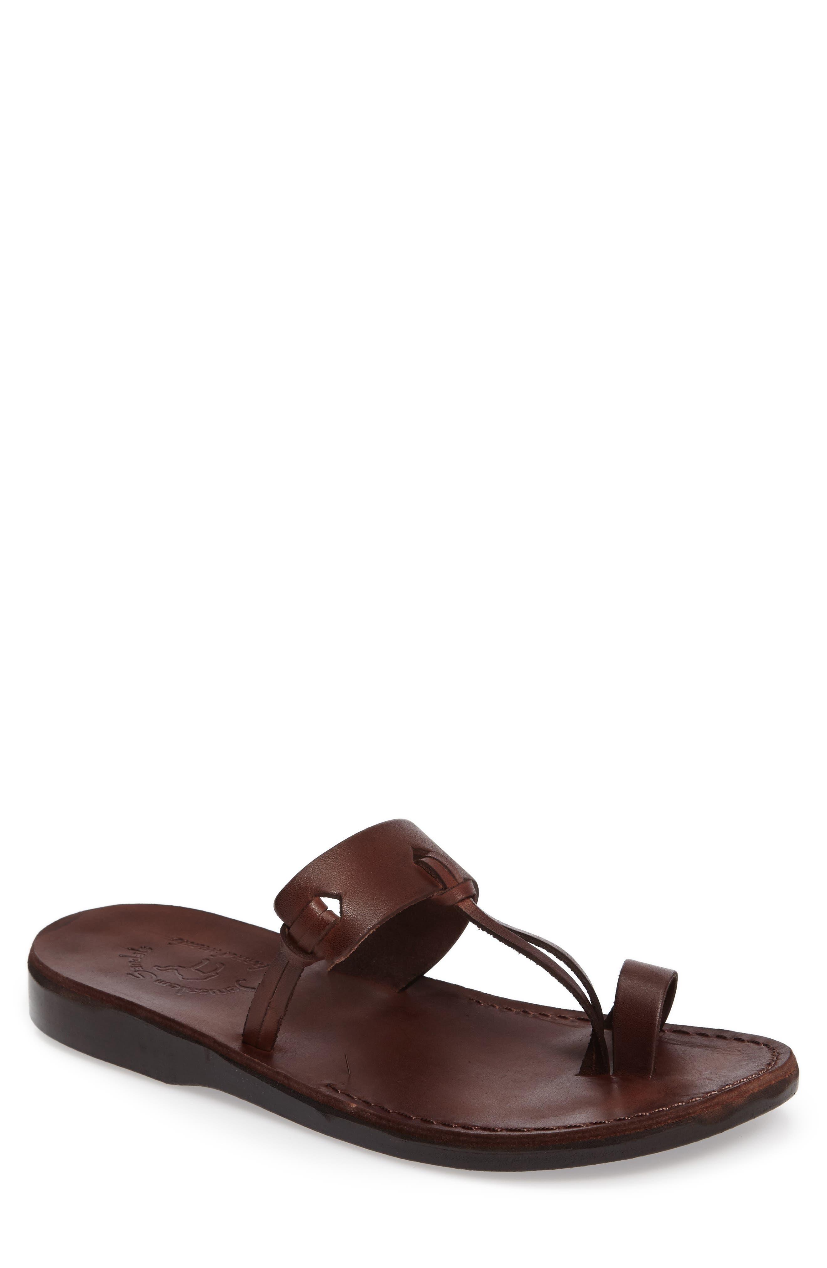 David Toe-Loop Sandal,                             Main thumbnail 1, color,                             Brown Leather