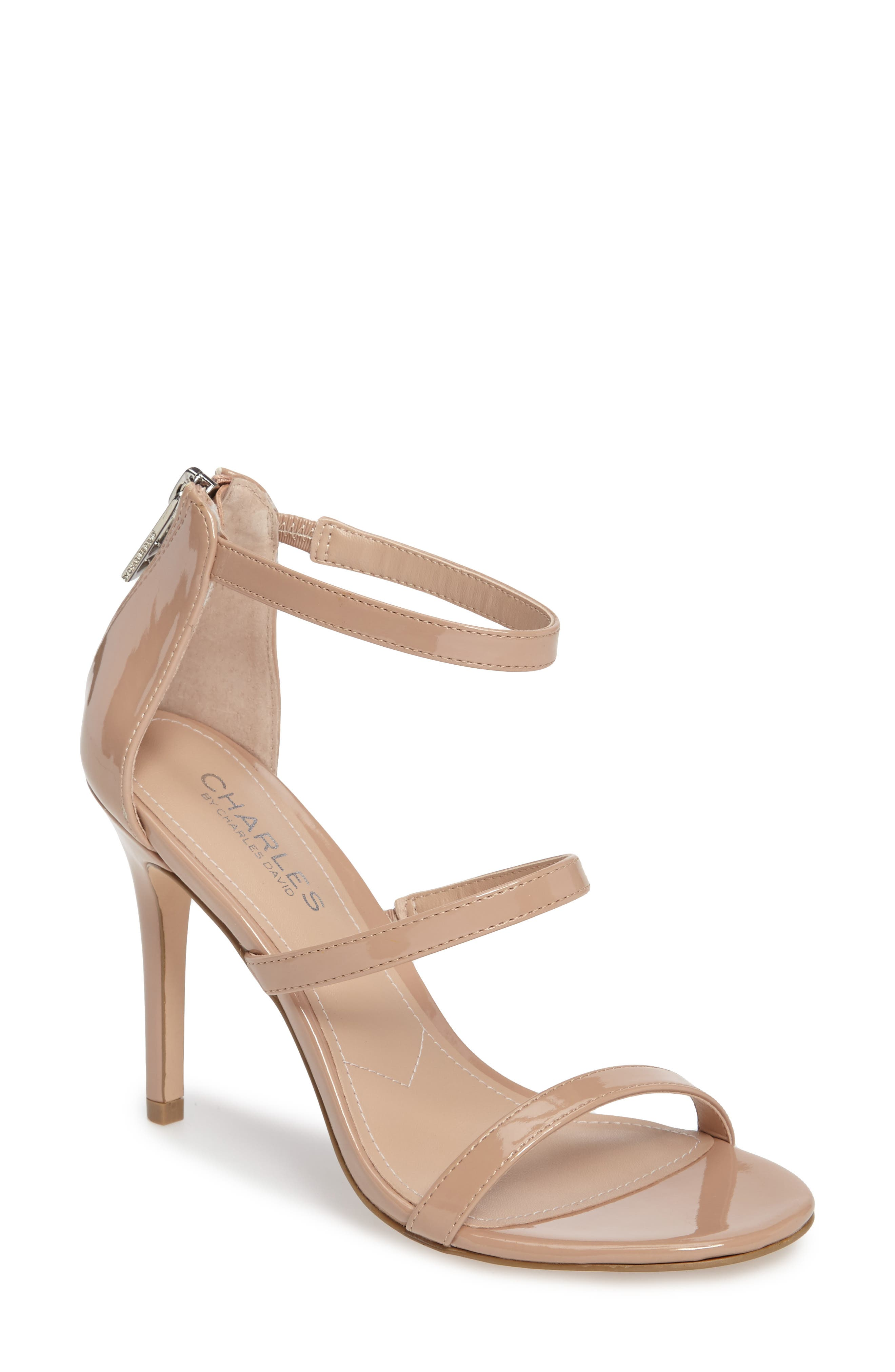 Ria Strappy Sandal,                             Main thumbnail 1, color,                             Nude Patent Leather